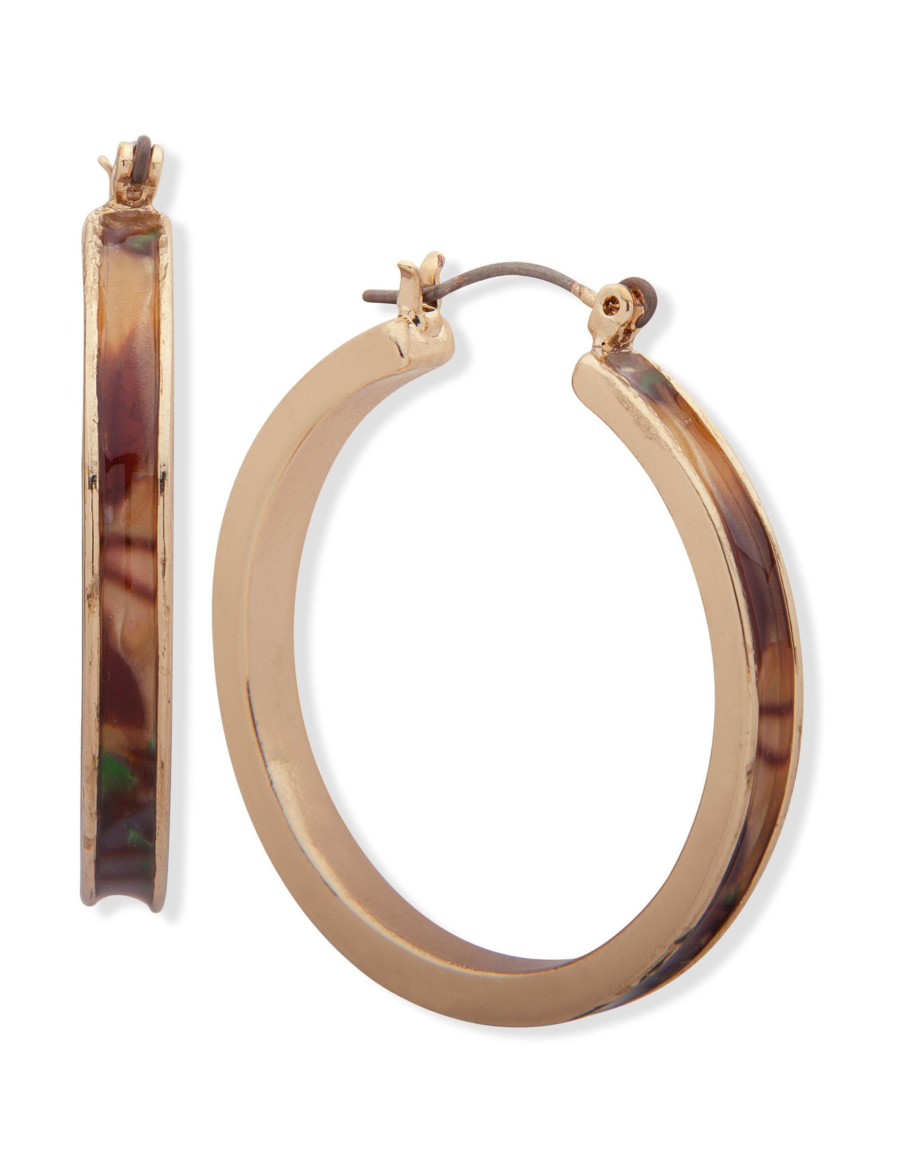 Gloria Vanderbilt Gold / Brown Multi Hoops Earrings Fashion Jewelry