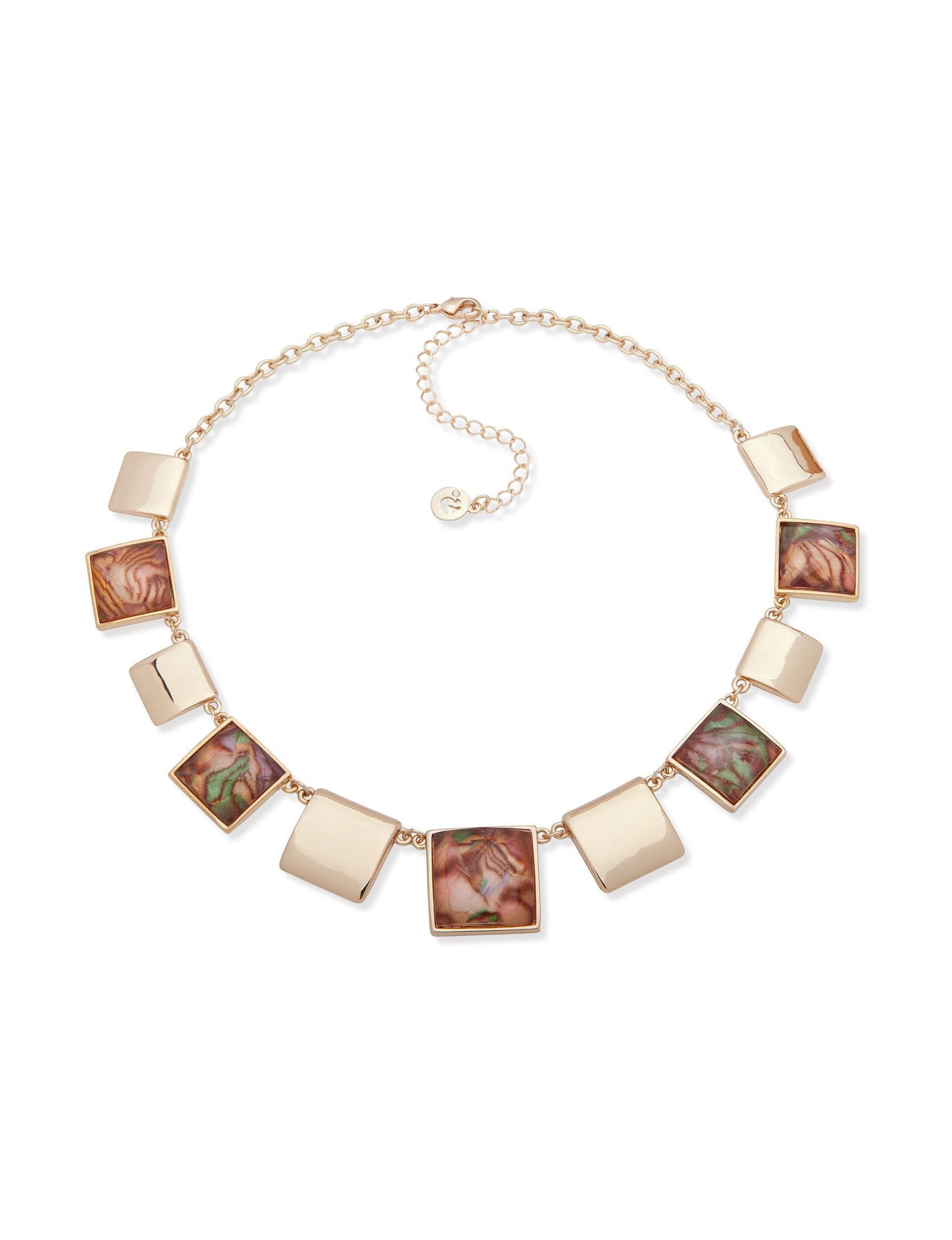 Gloria Vanderbilt Gold / Brown Multi Necklaces & Pendants Fashion Jewelry