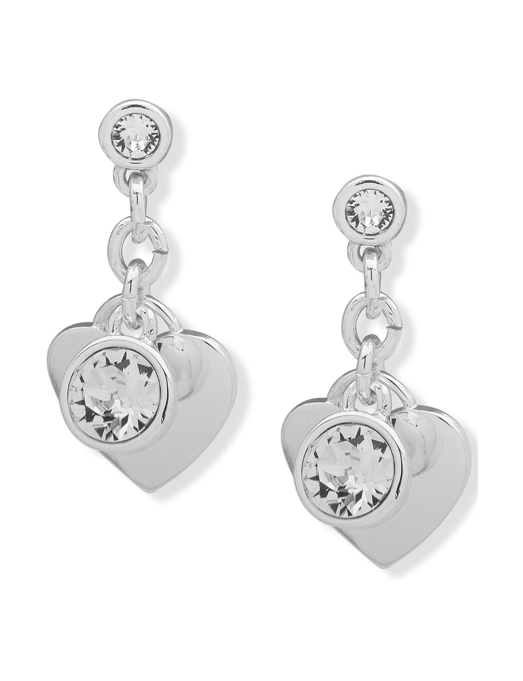 Gloria Vanderbilt Silver / Crystal Drops Fashion Jewelry