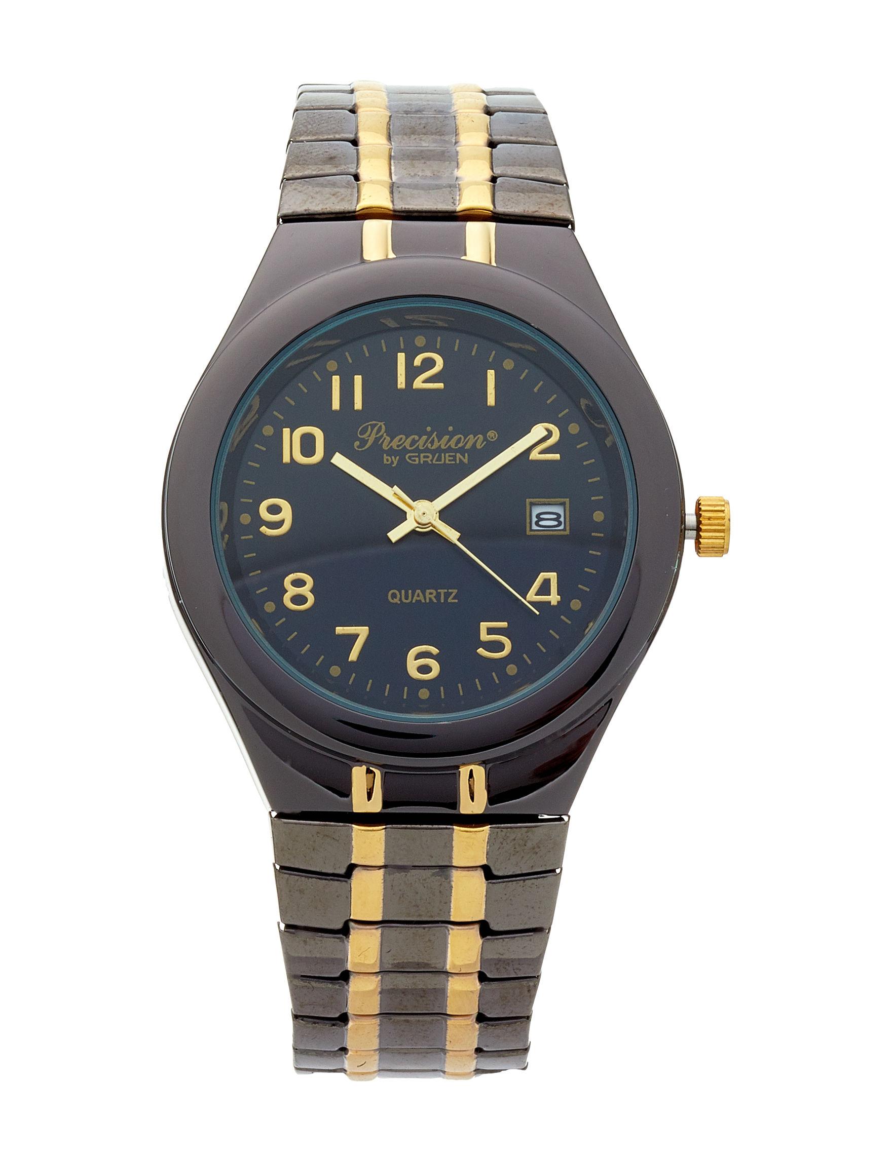 Accutime Black / Gold Fashion Watches