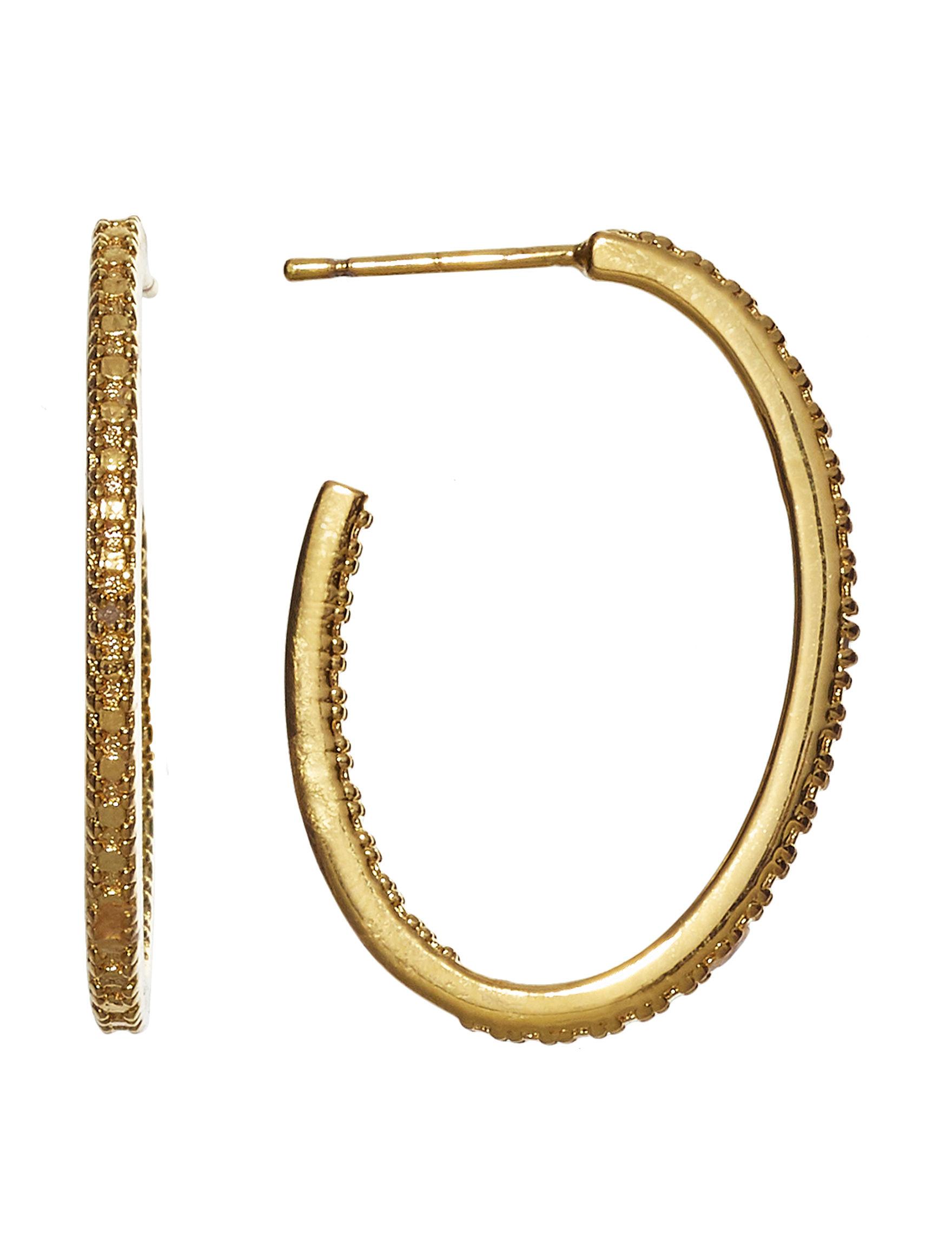 Marsala Gold / Gemstone Hoops Earrings Fine Jewelry