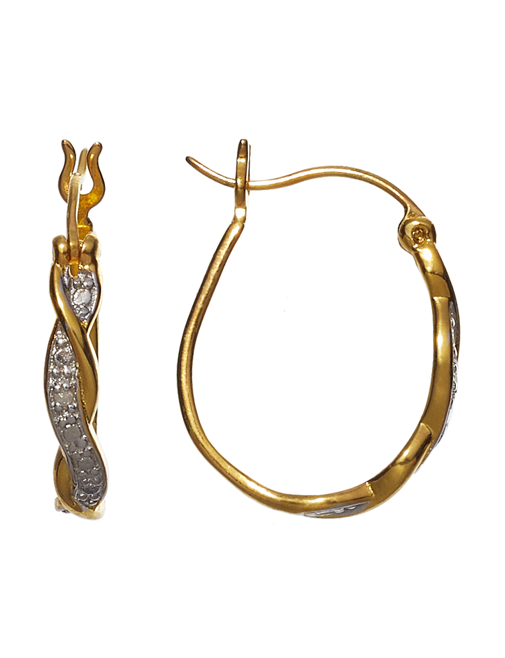 Marsala Gold / Gemstone Hoops Earrings Fine Jewelry