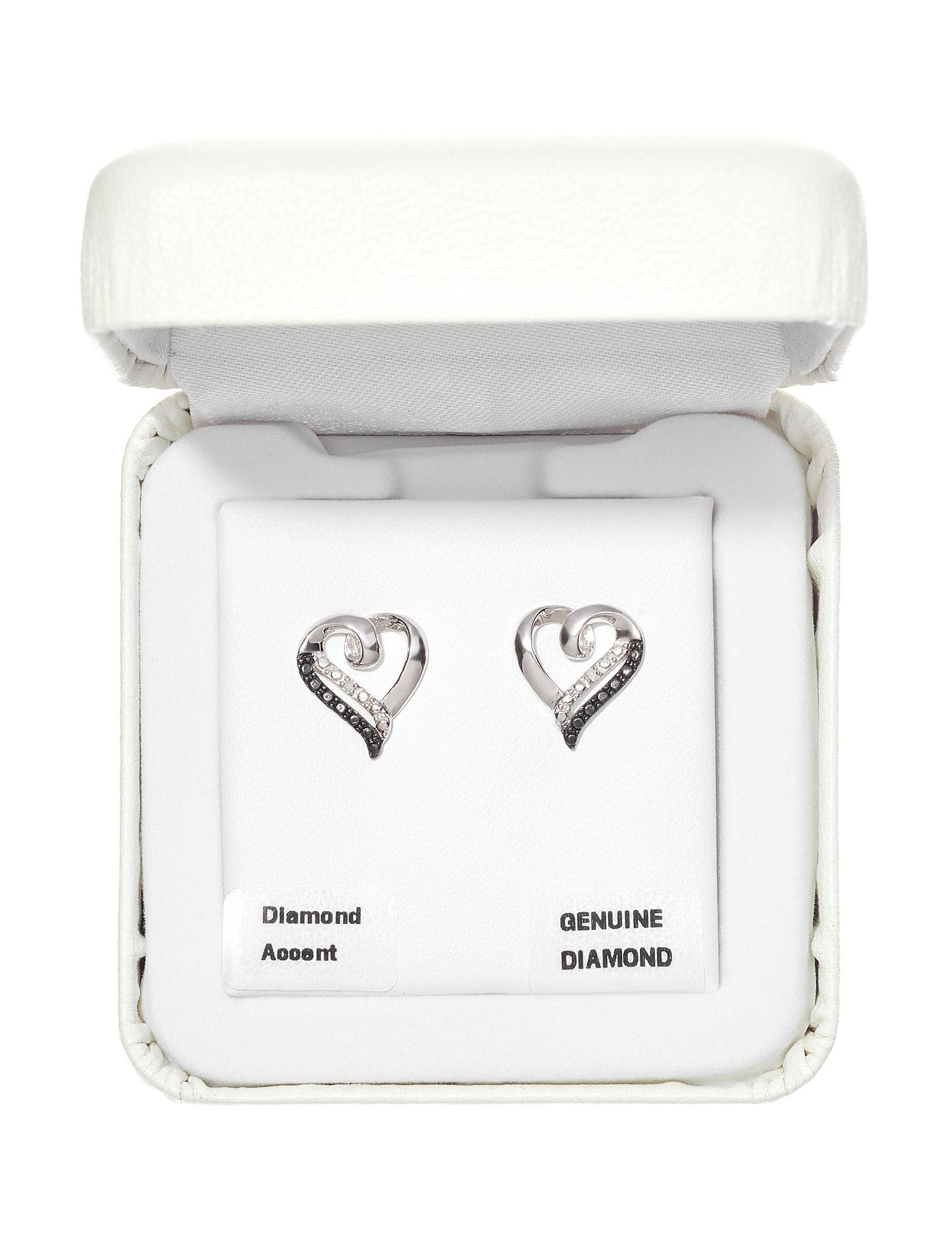 Marsala Silver / Black Studs Earrings Fine Jewelry