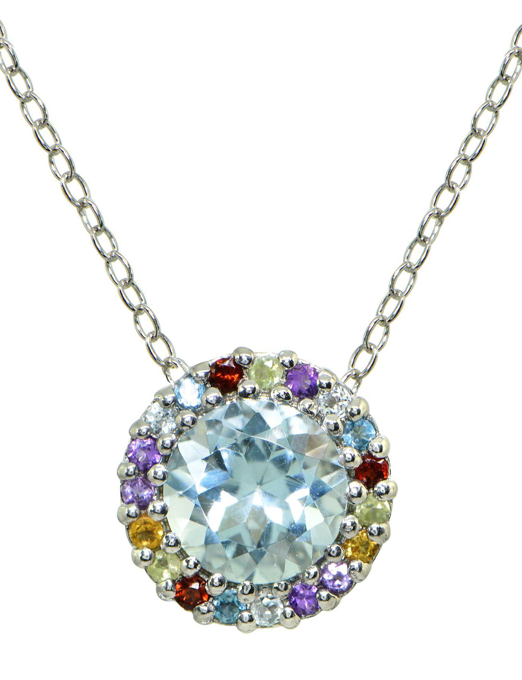 FMC Silver Multi Stone Necklaces & Pendants Fine Jewelry