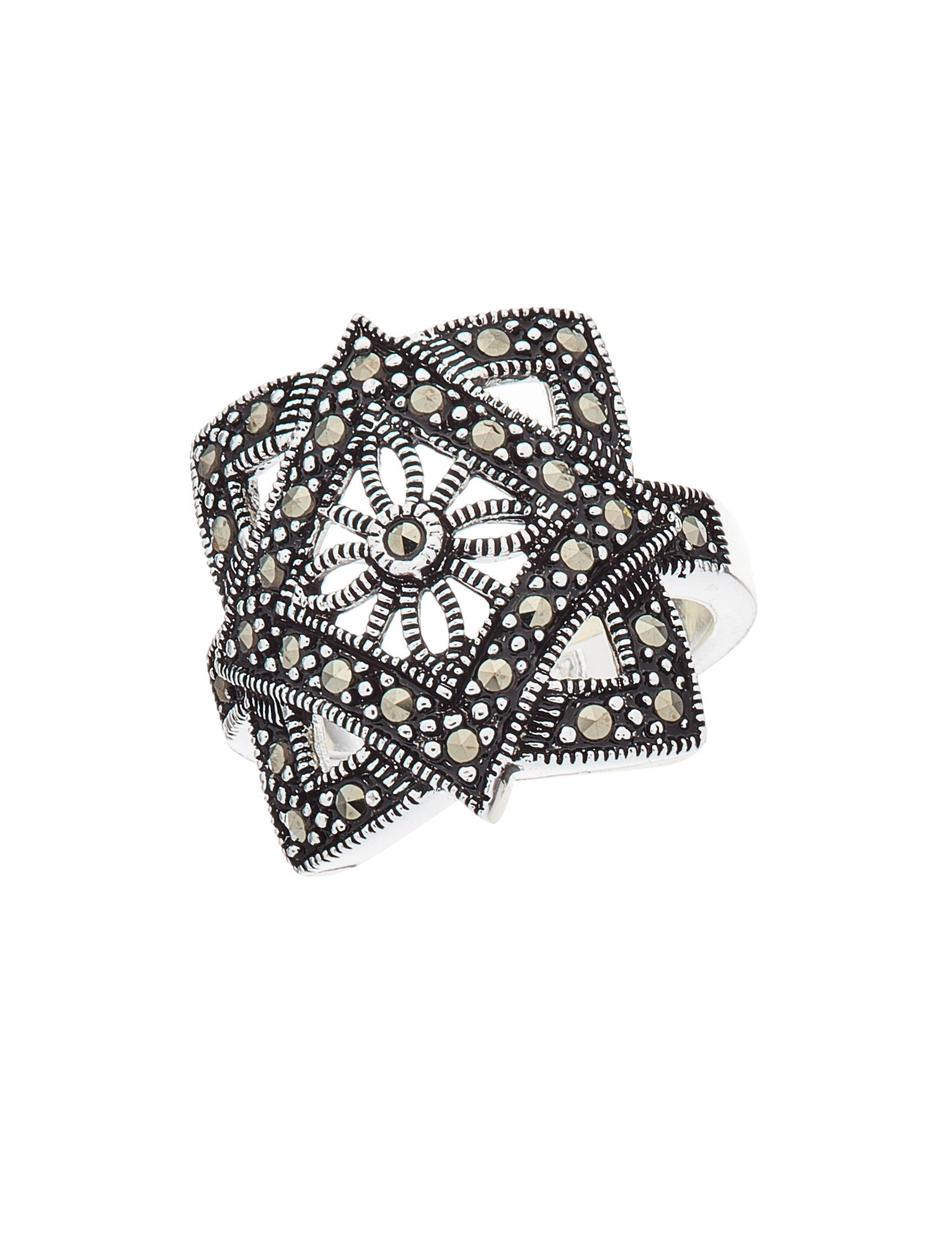 Marsala Marcasite / Crystal Rings Fine Jewelry