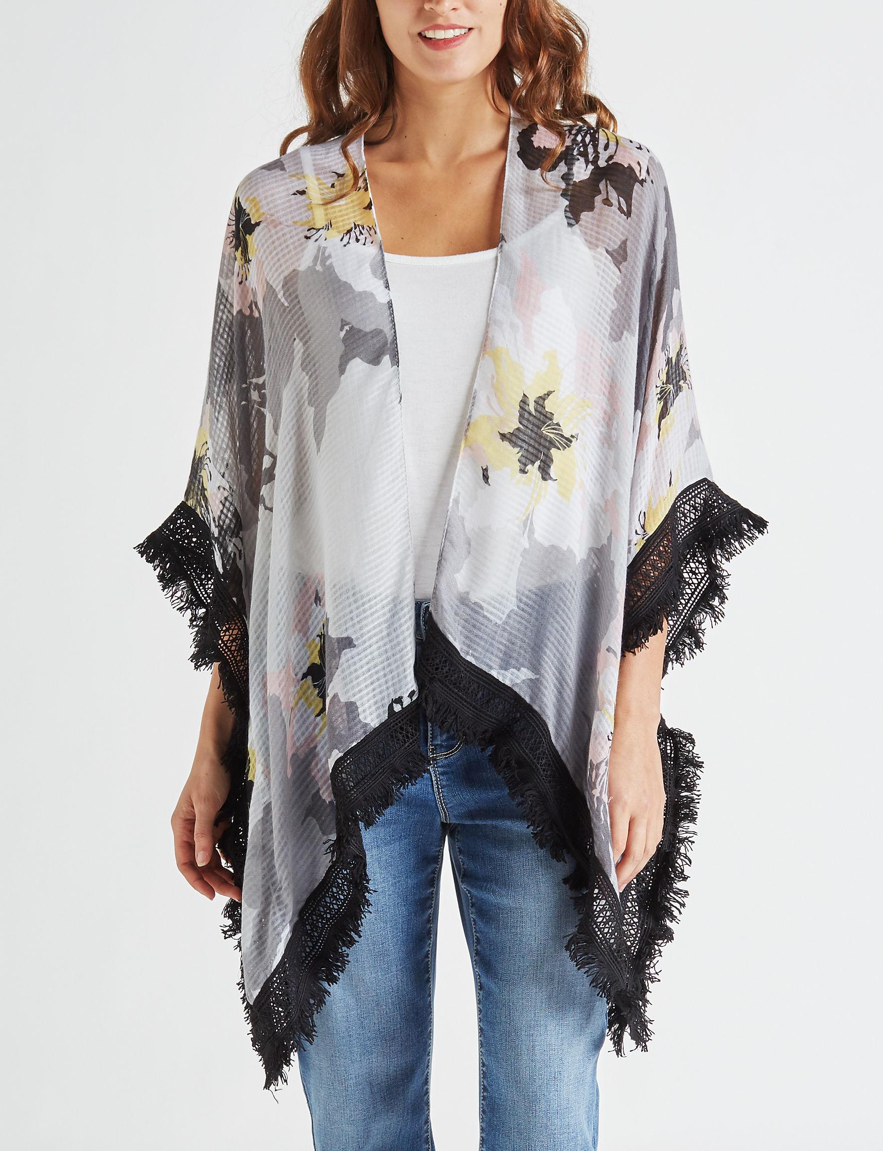 Cejon Black / Multi Kimonos & Toppers Scarves & Wraps Ruanas