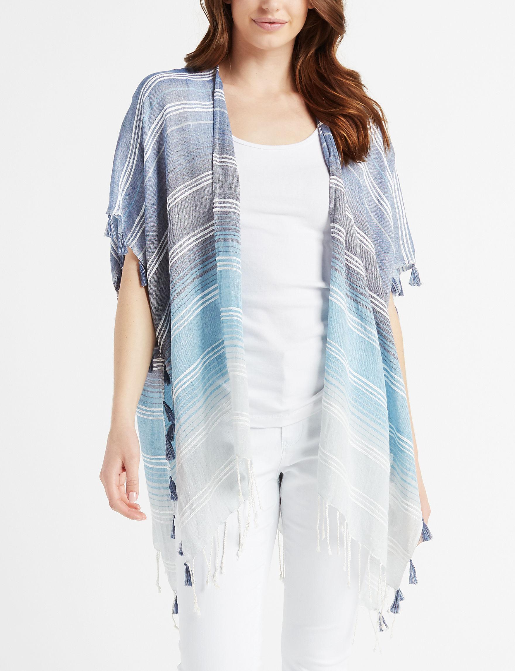 Basha Blue Stripe Kimonos & Toppers Scarves & Wraps