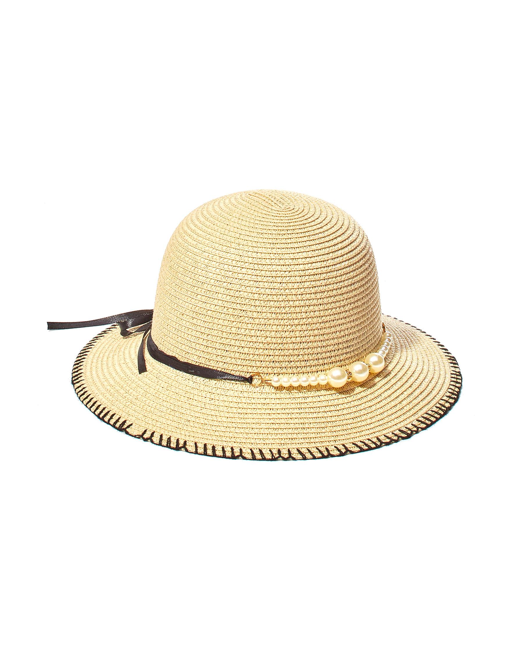 Amiee Lynn Beige / Black Hats & Headwear