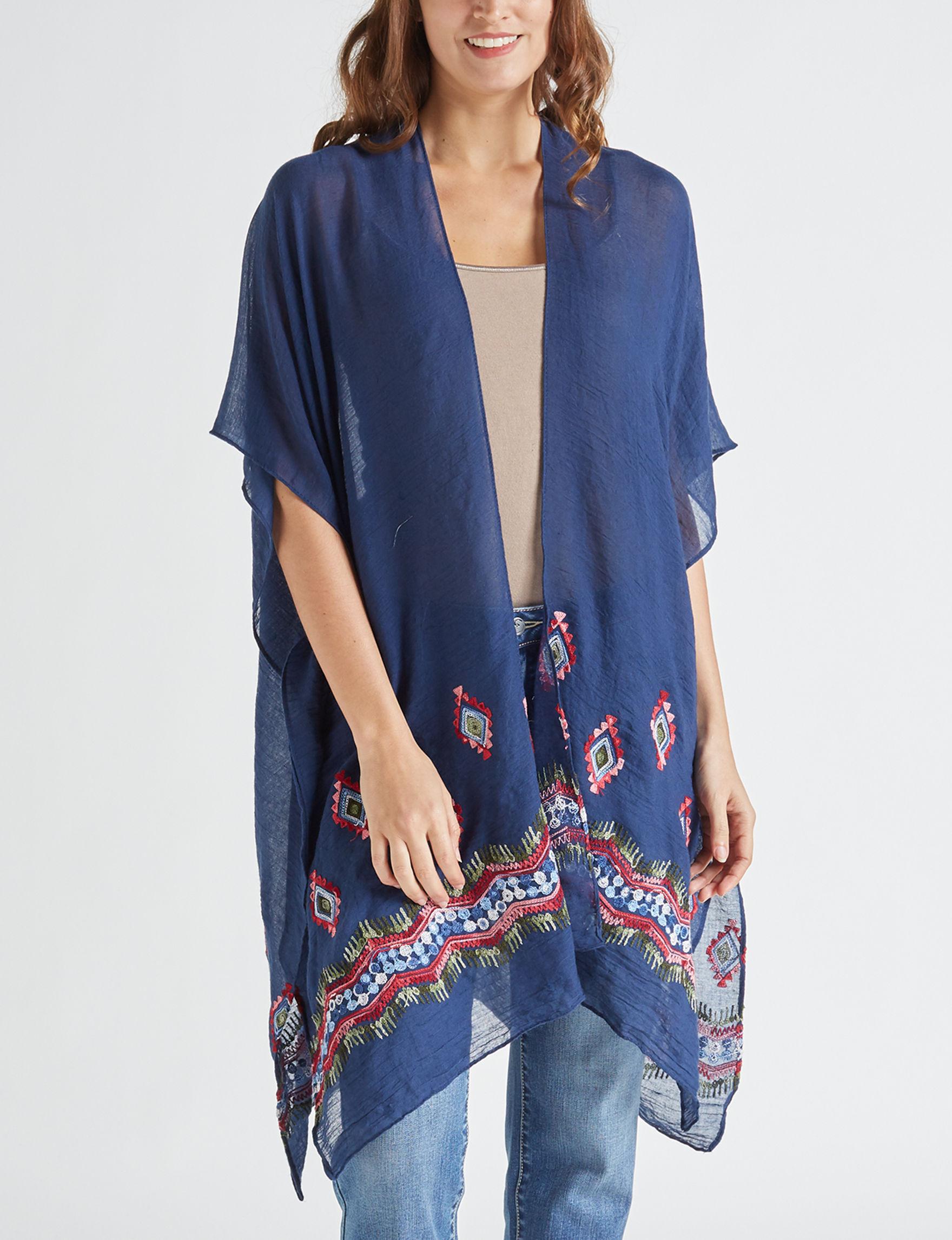 Basha Navy Kimonos & Toppers Scarves & Wraps Ruanas