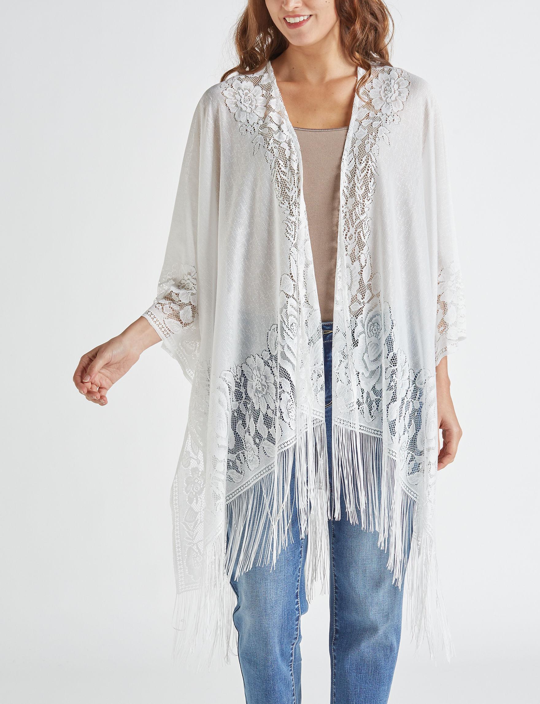 Basha Ivory Kimonos & Toppers Scarves & Wraps Ruanas