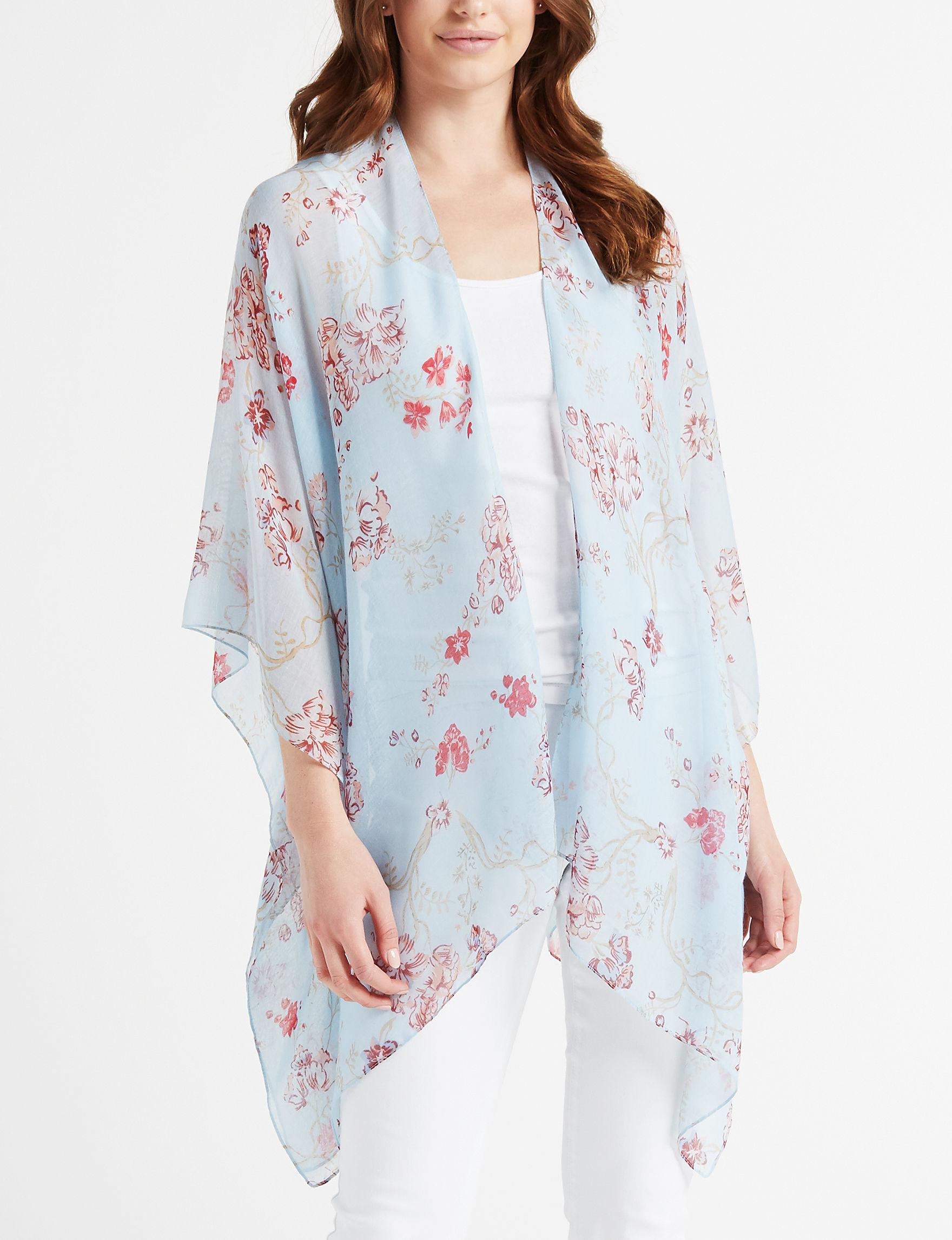 Basha Blue Floral Kimonos & Toppers