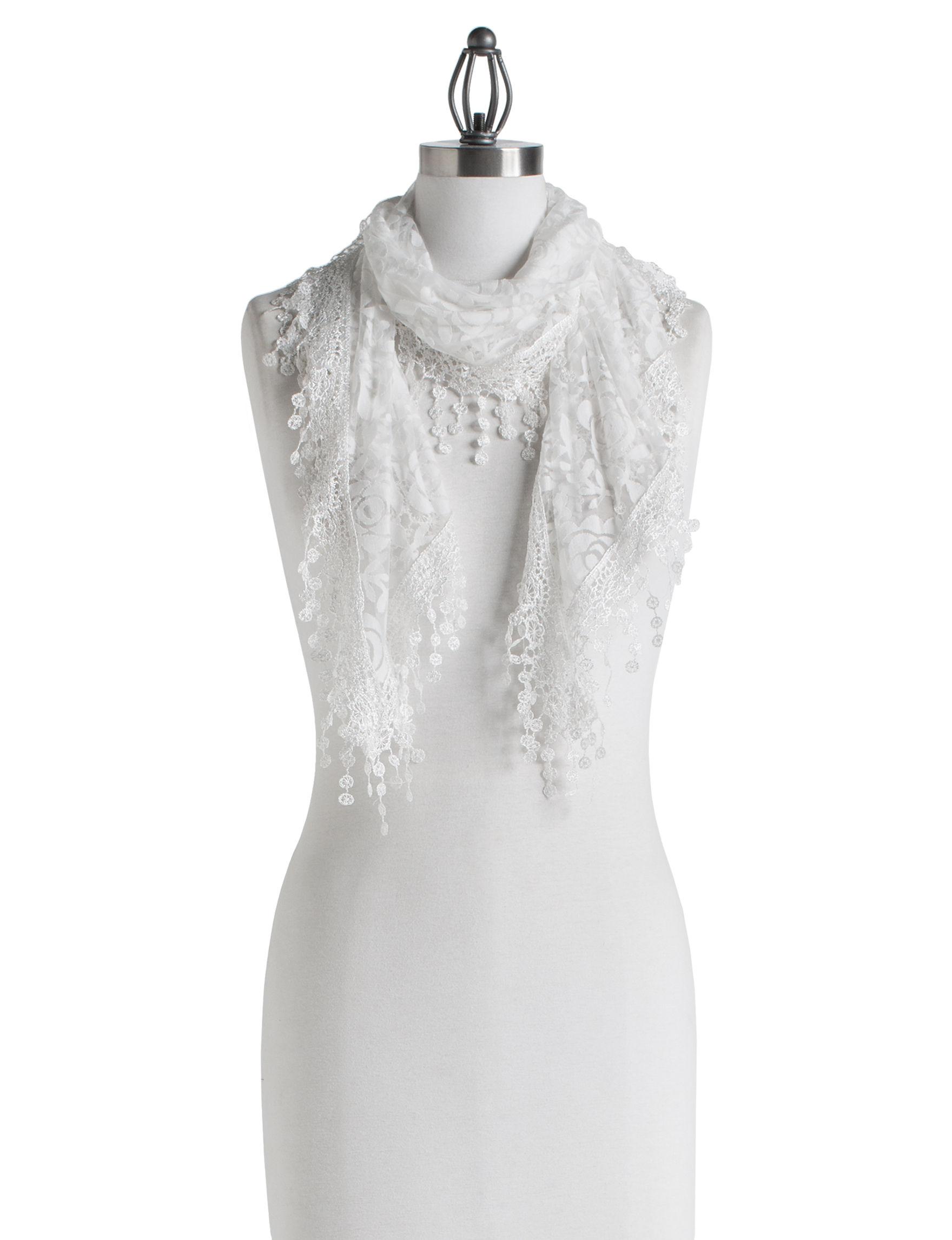 Basha White Floral Scarves & Wraps Scarves