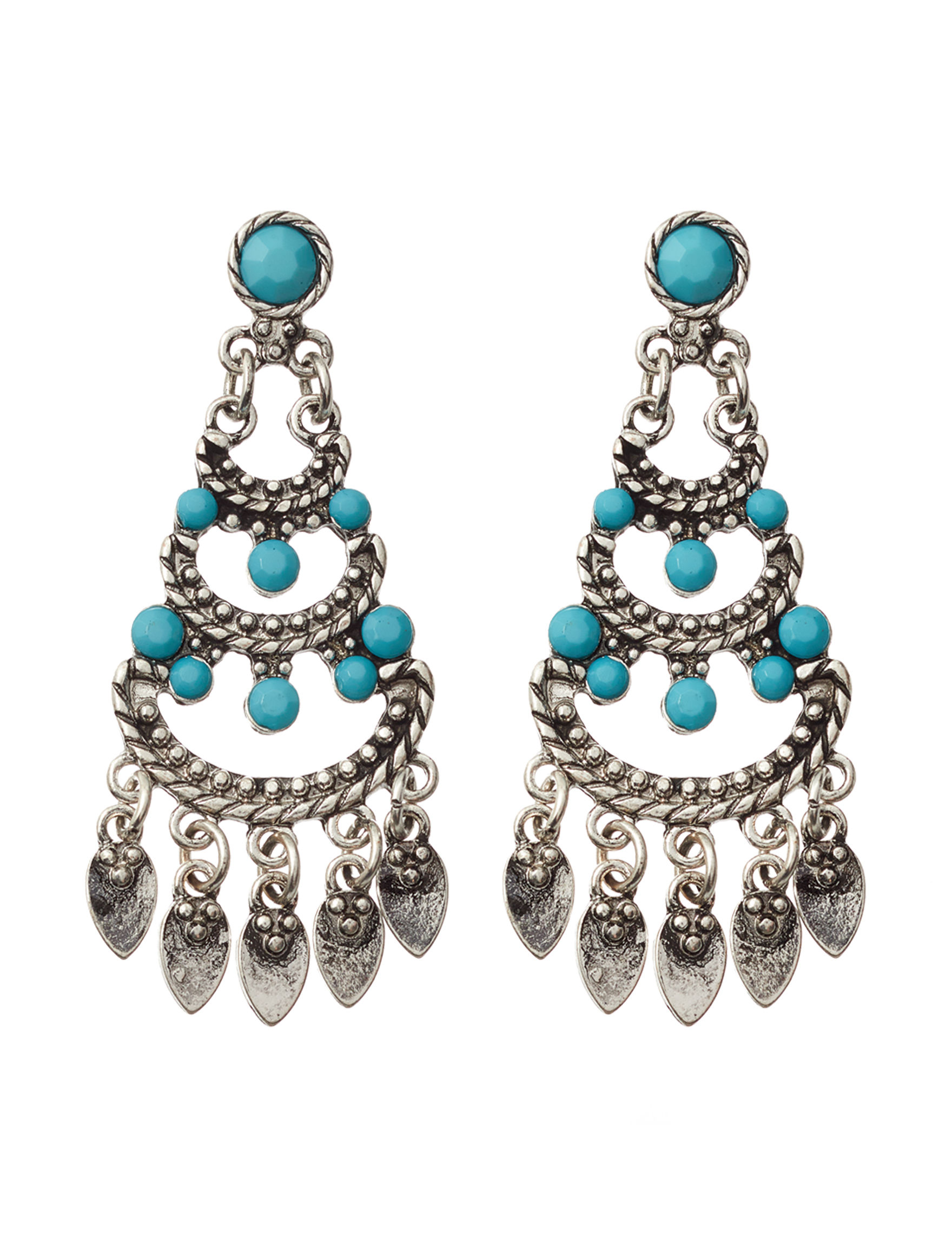 Hannah Silver / Turquoise Drops Earrings Fashion Jewelry