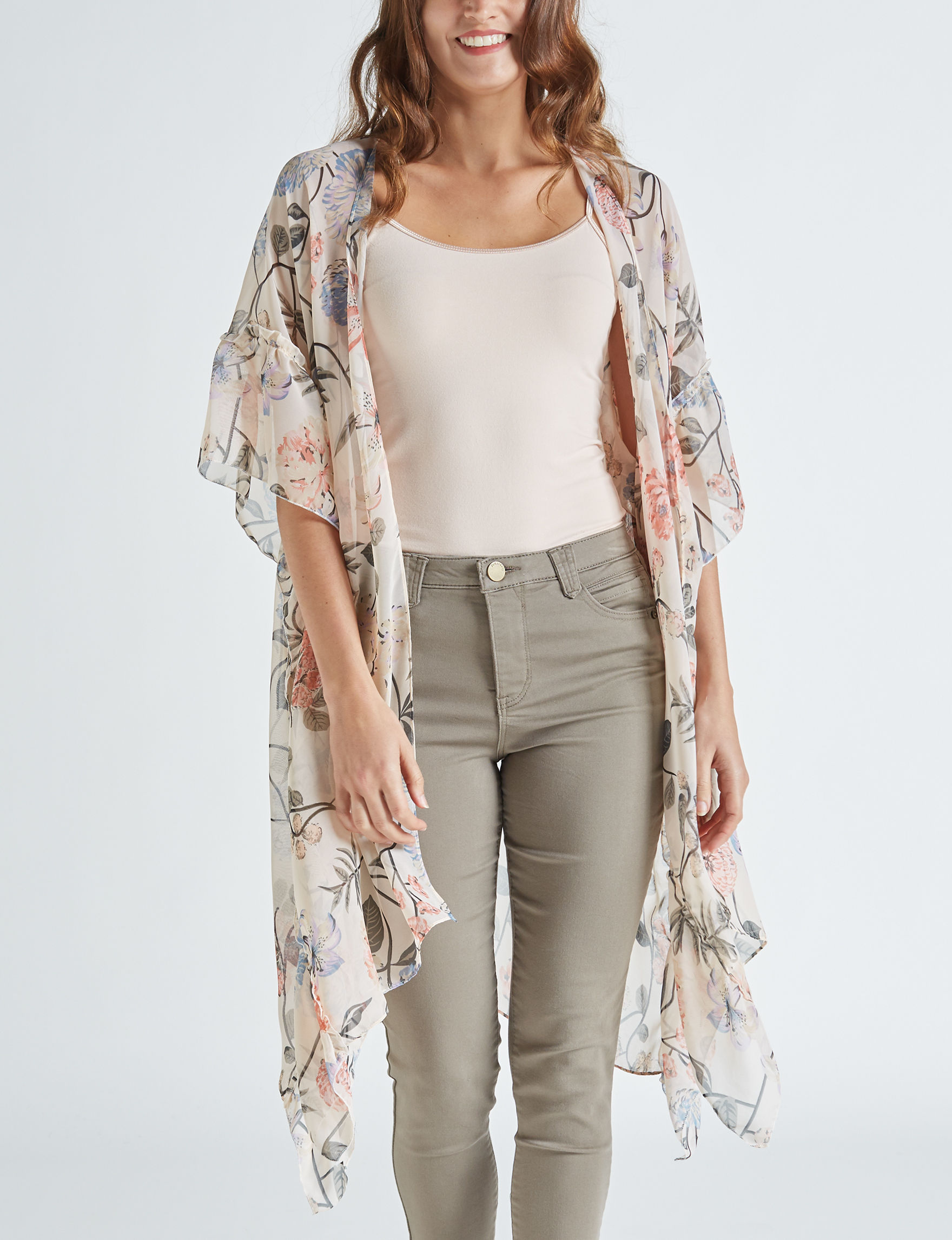 David & Young Beige Floral Kimonos & Toppers Scarves & Wraps Ruanas