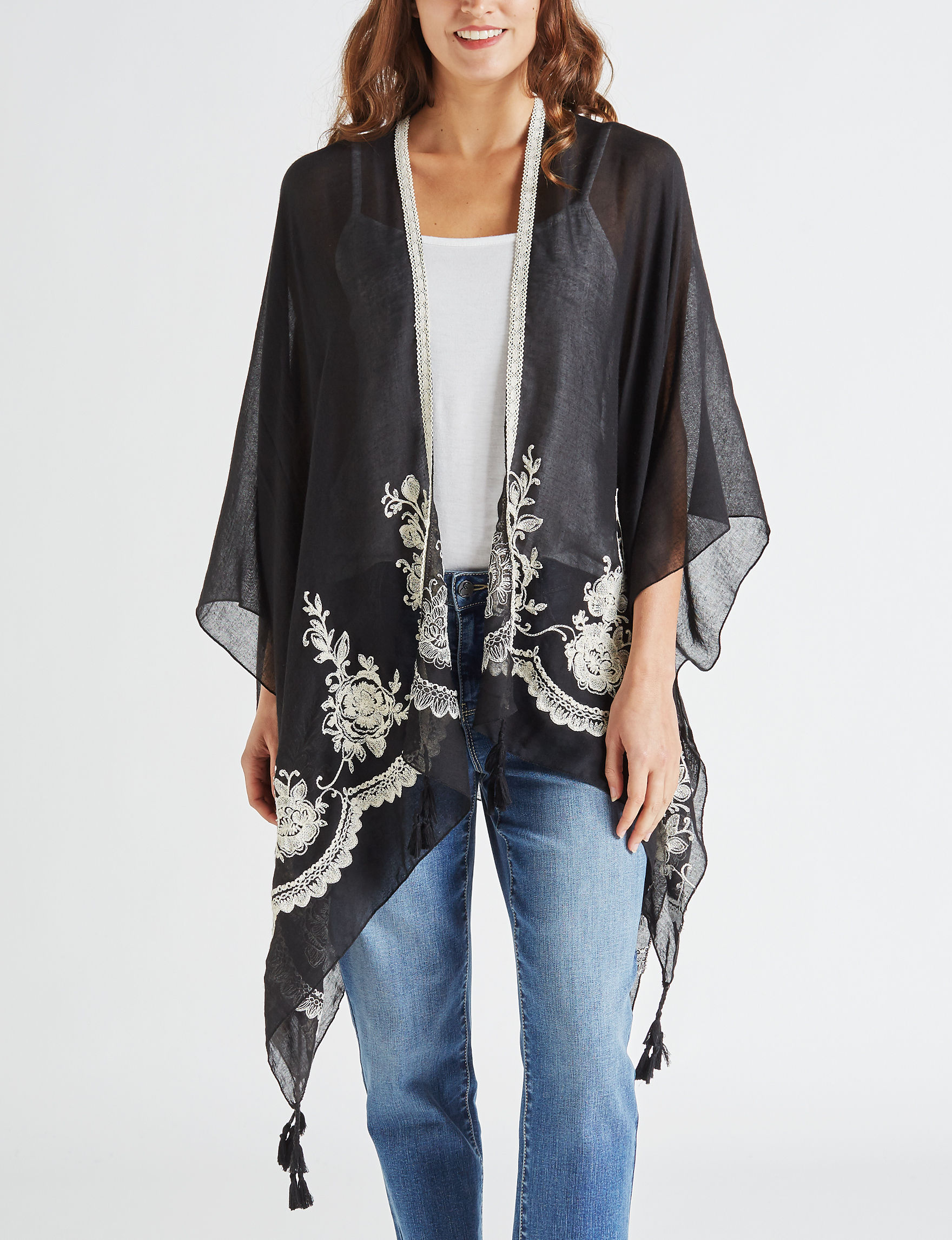 David & Young Black Kimonos & Toppers Scarves & Wraps