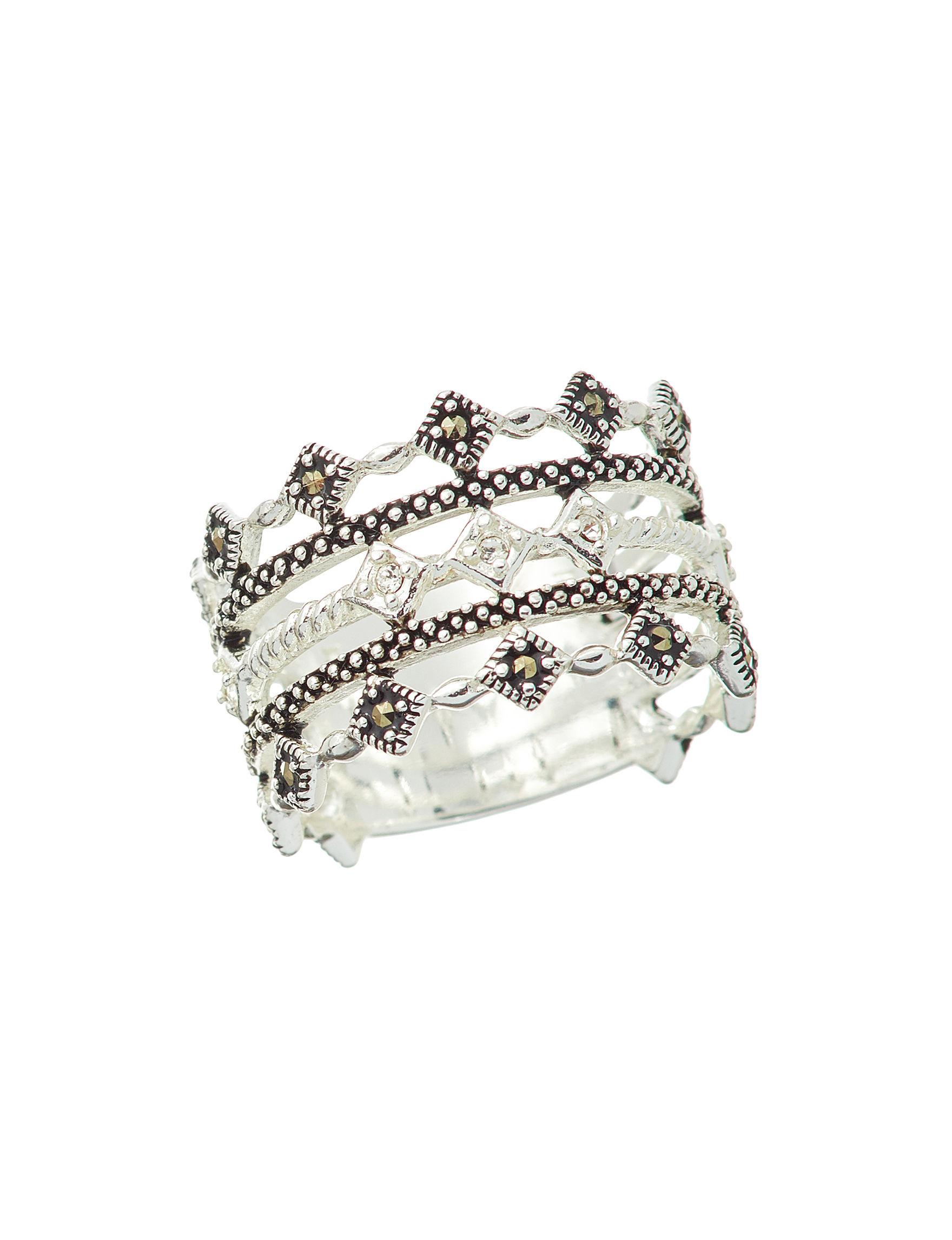 Marsala Black / Silver Rings Fine Jewelry