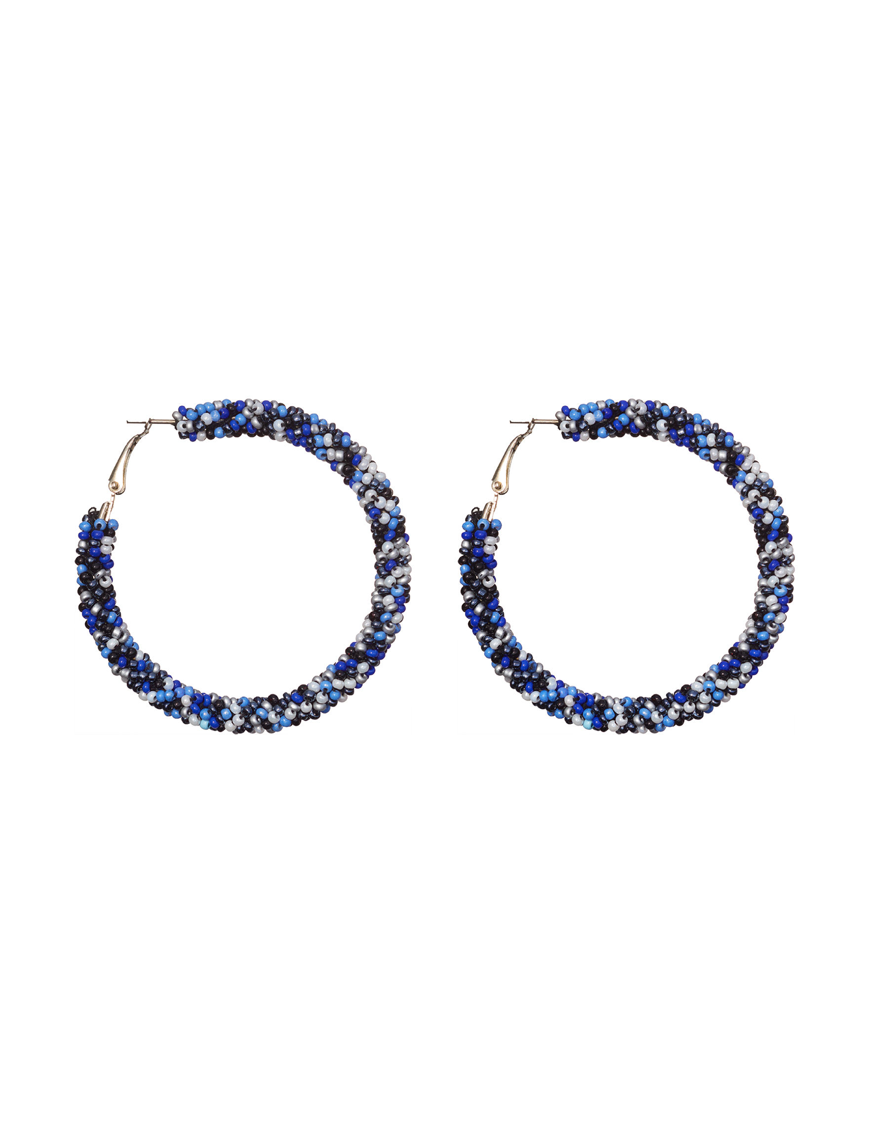 Hannah Blue / White Hoops Earrings Fashion Jewelry