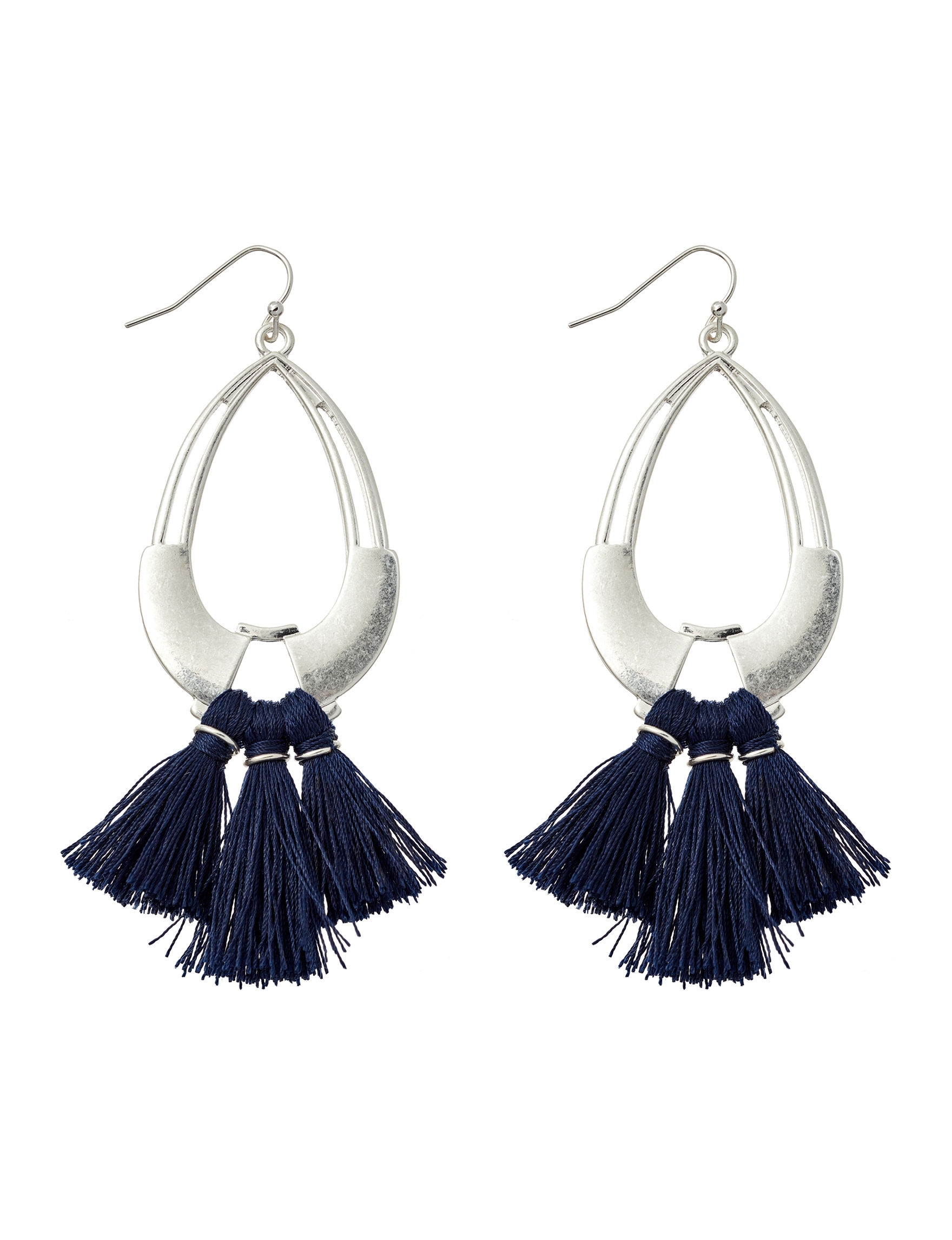 Hannah Silver / Navy Drops Earrings Fashion Jewelry