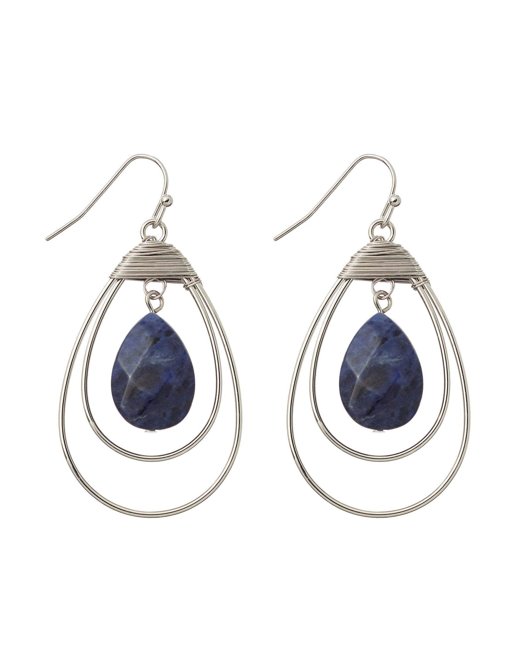 Hannah Silver / Navy Drops Earrings Fashion Jewelry