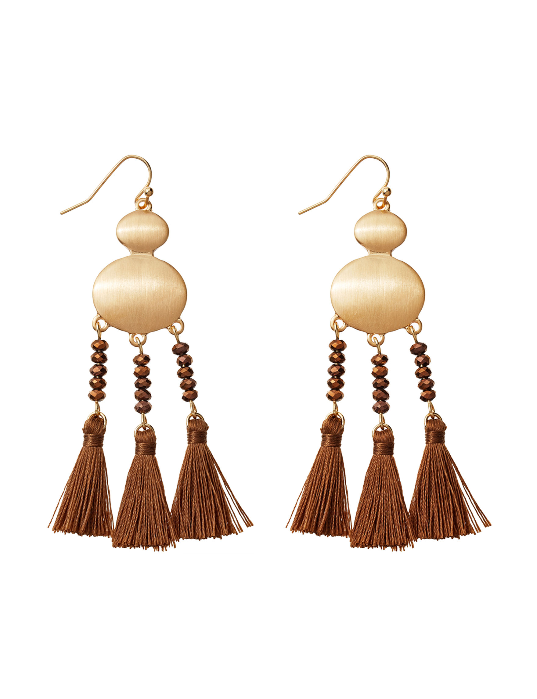 Hannah Gold / Brown Drops Earrings Fashion Jewelry