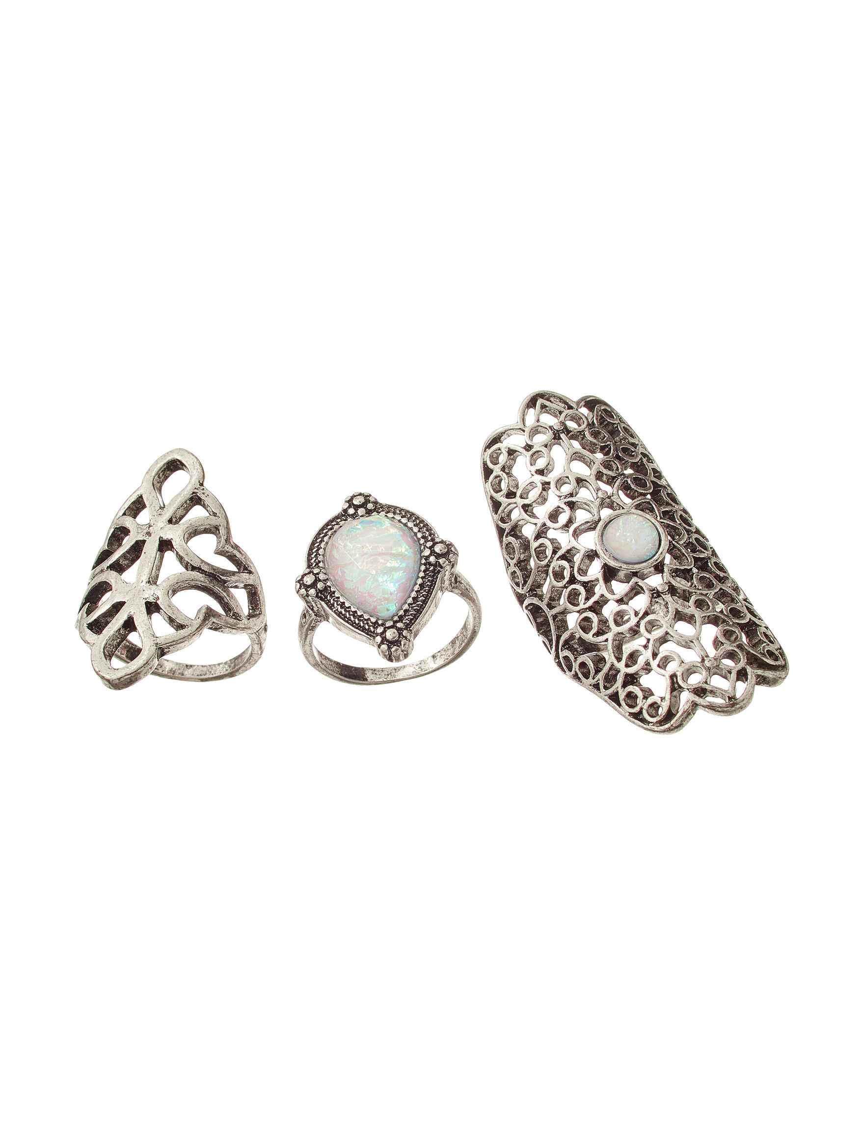 Hannah Silver / White Rings Fashion Jewelry