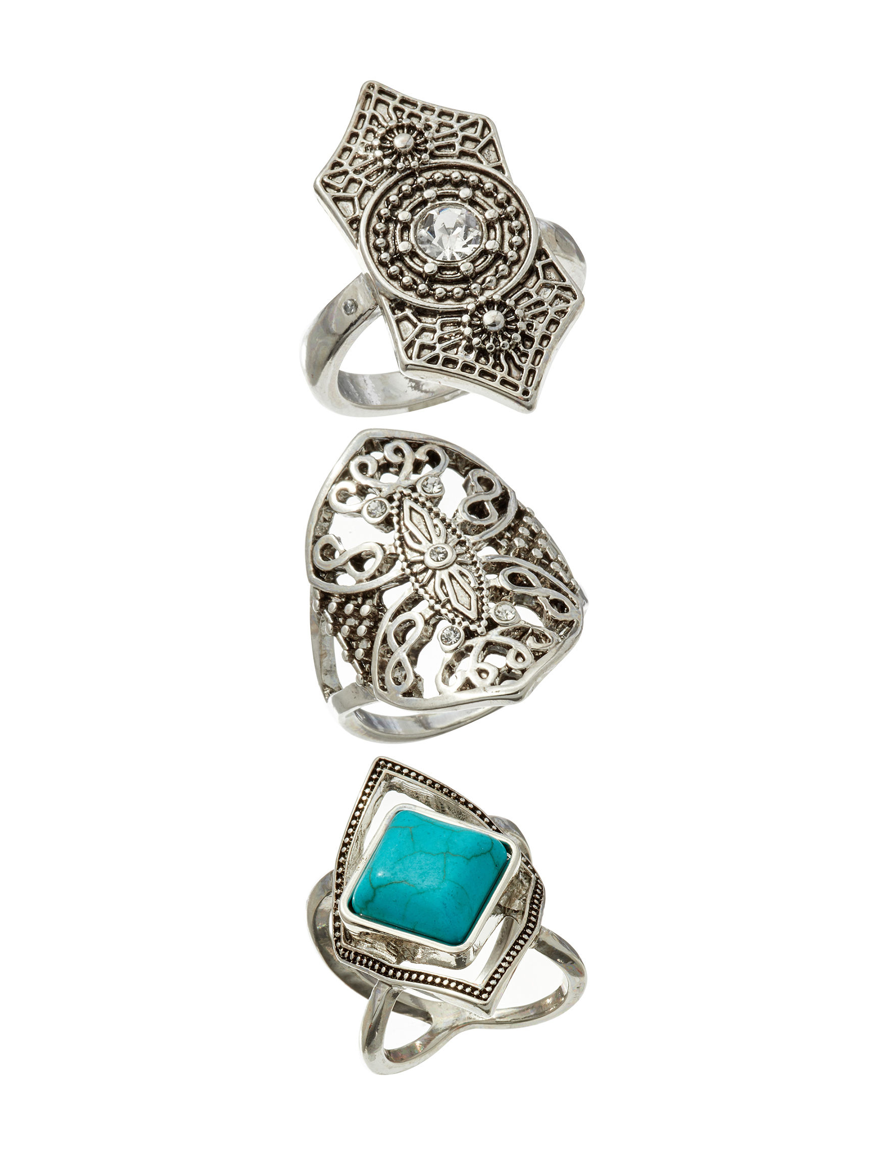 Hannah Turquoise Multi Rings Fashion Jewelry