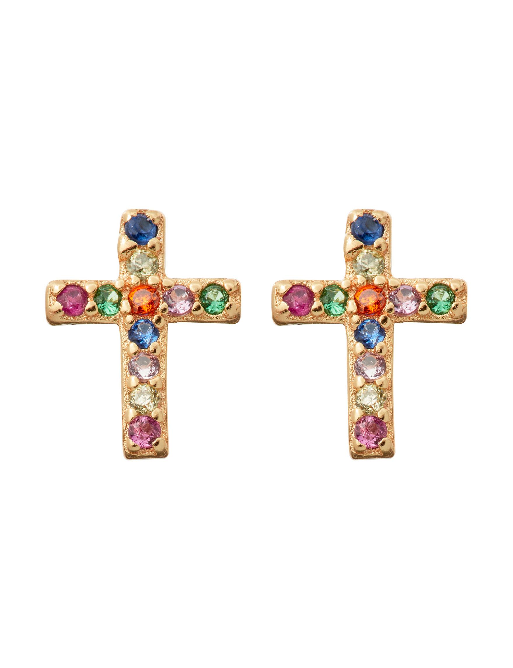 Marsala Gold / Multi Studs Earrings Fine Jewelry
