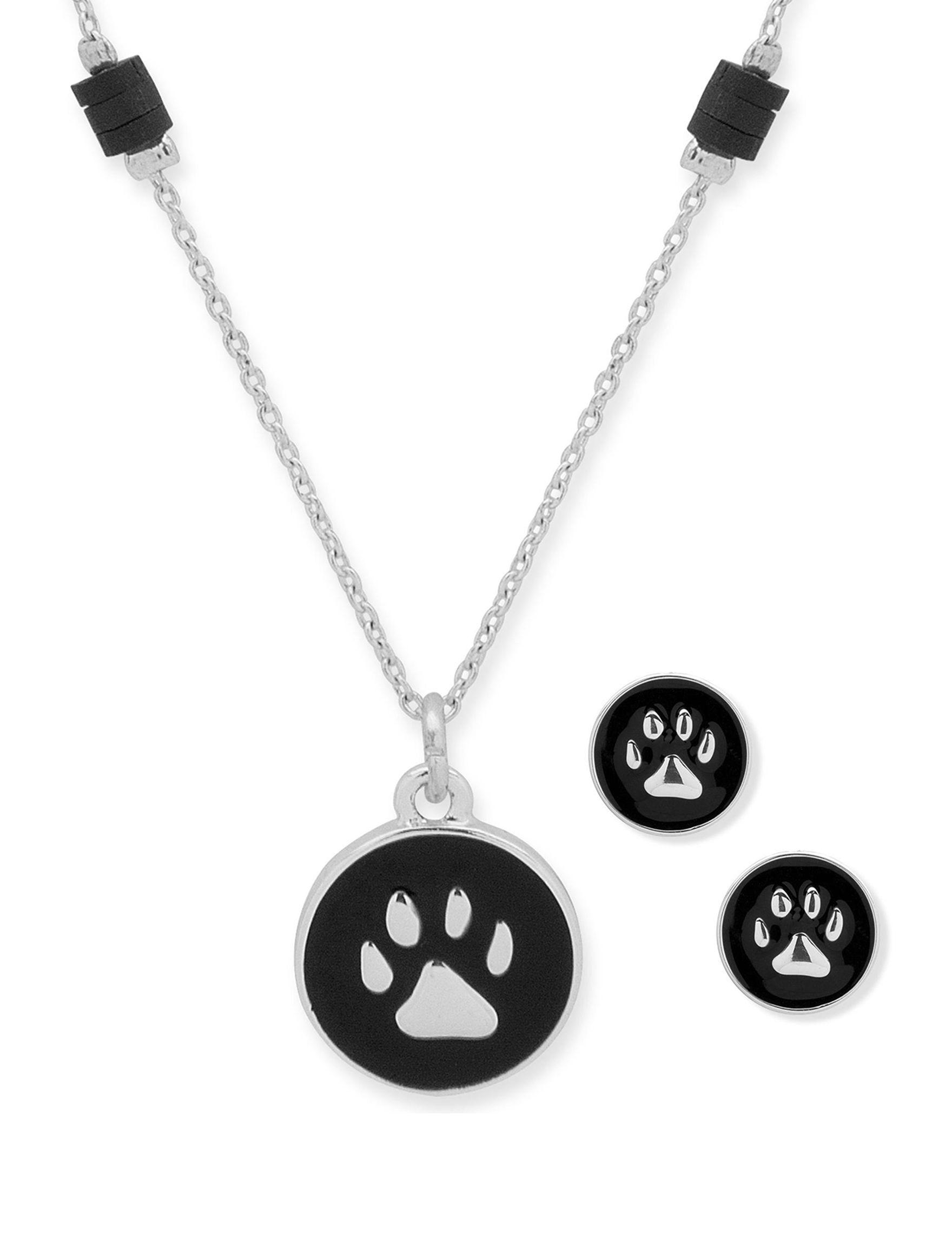 Pet Friends Silver / Black Earrings Necklaces & Pendants Fashion Jewelry