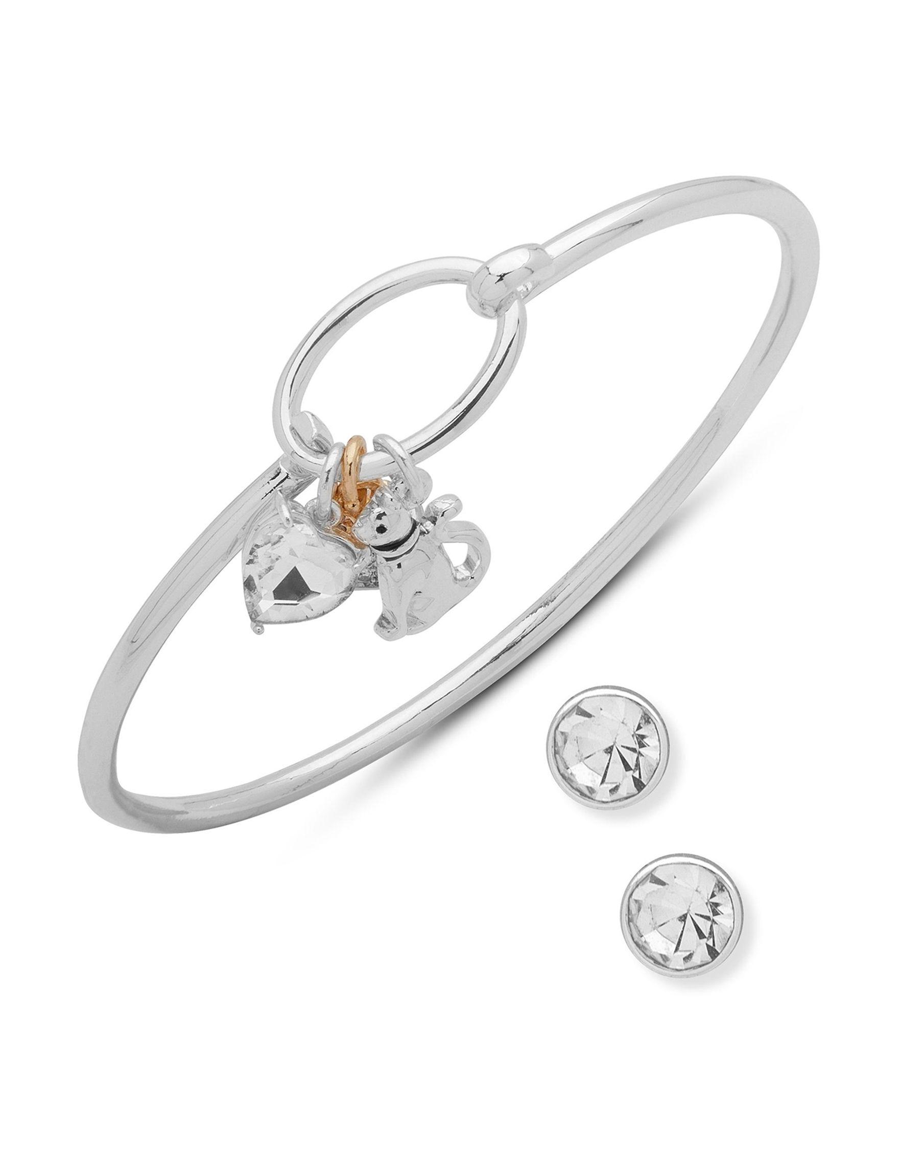 Pet Friends Silver / Crystal Bracelets Earrings Fashion Jewelry