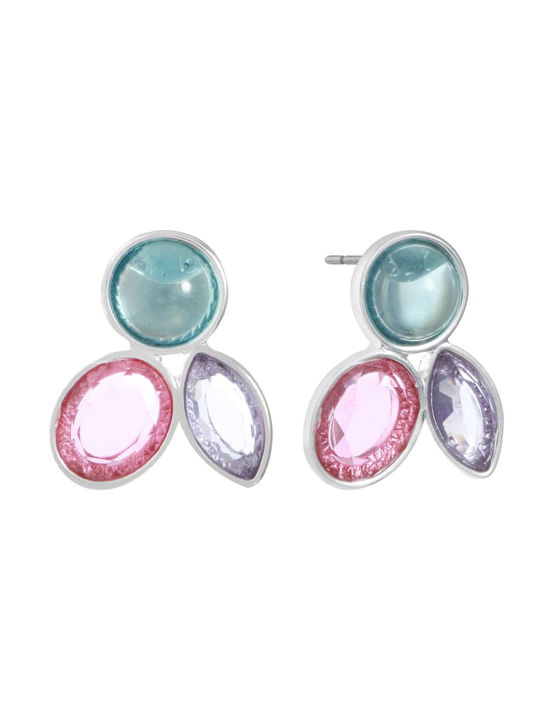 Gloria Vanderbilt Silver / Multi Studs Earrings Fashion Jewelry