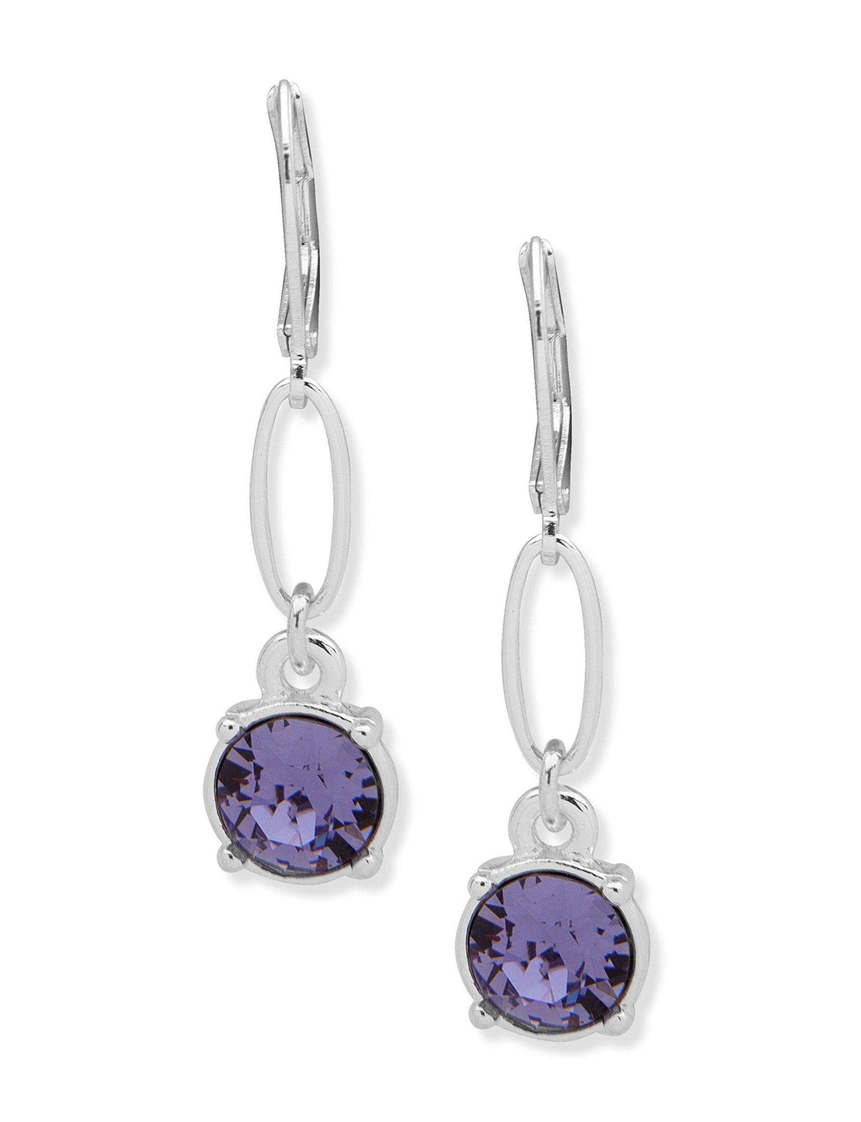 Gloria Vanderbilt Silver / Purple Drops Earrings Fashion Jewelry