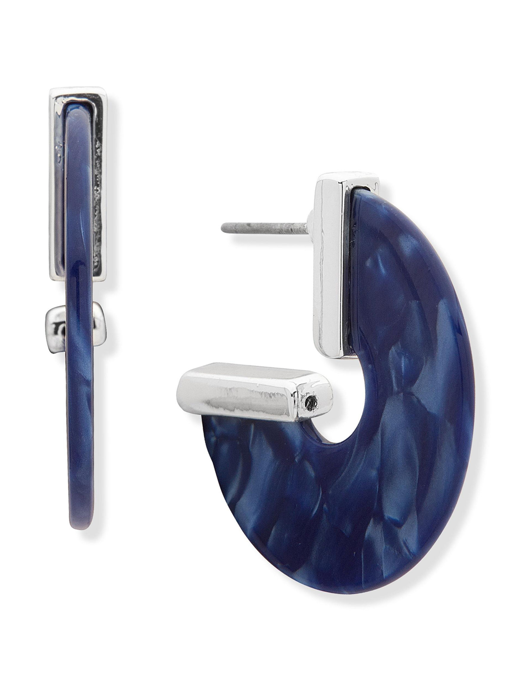 Chaps Blue / Silver Hoops Earrings Fashion Jewelry