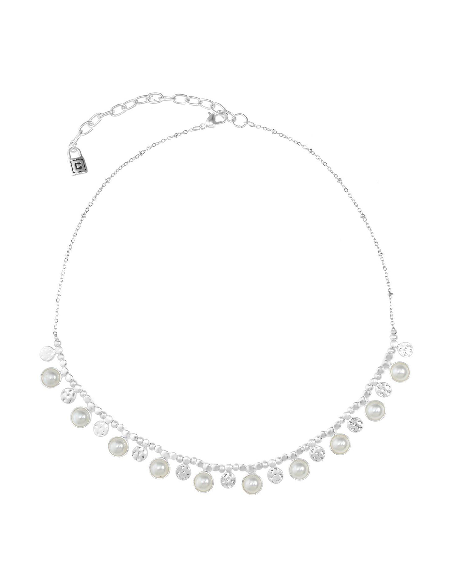 Chaps Silver / Pearl Necklaces & Pendants Fashion Jewelry