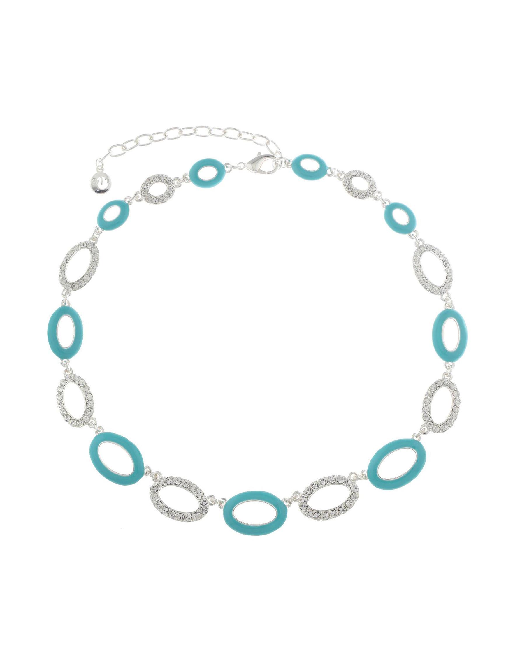 Gloria Vanderbilt Silver / Turquoise Necklaces & Pendants Fashion Jewelry