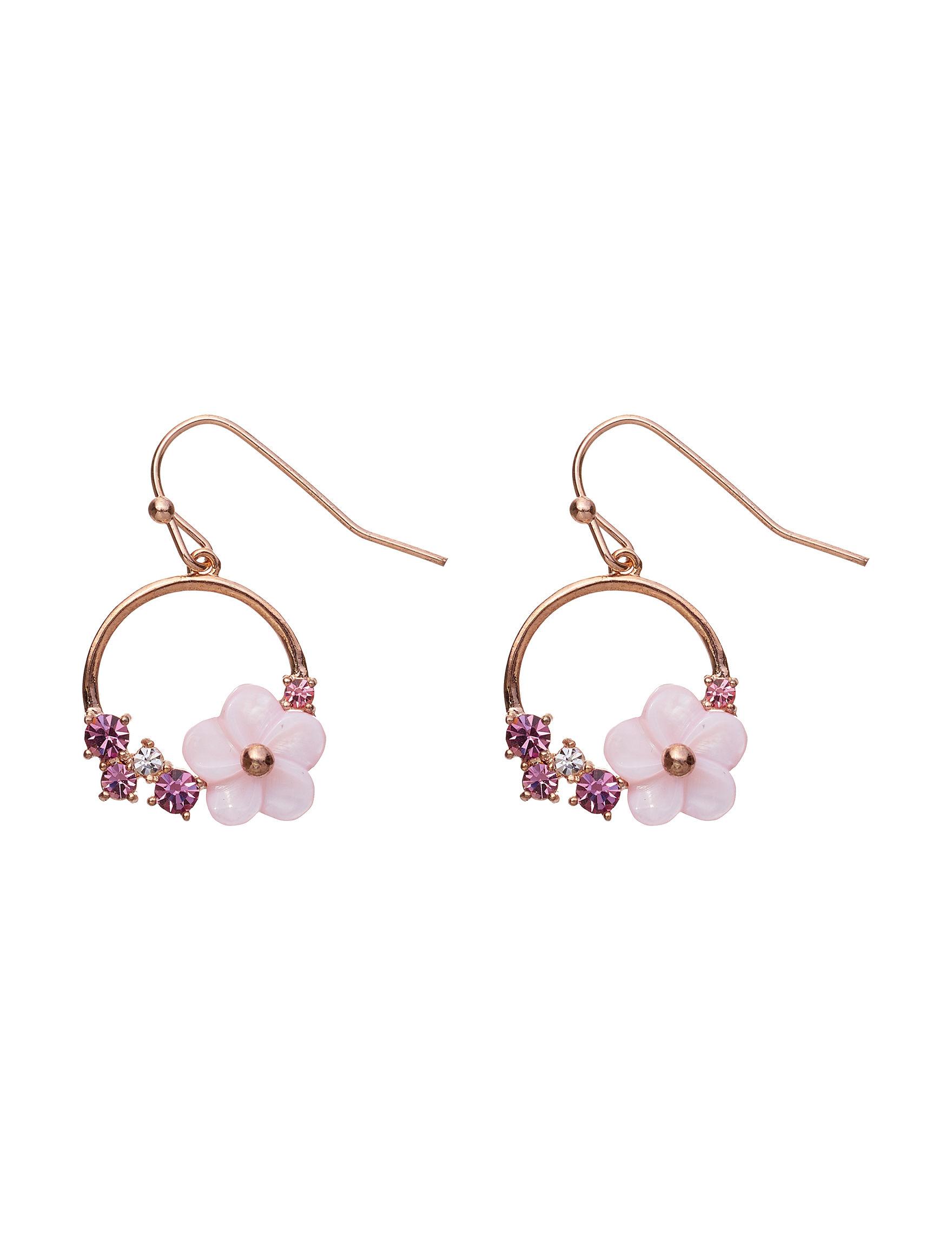 Sunstone Gold / Pink Drops Earrings Fine Jewelry