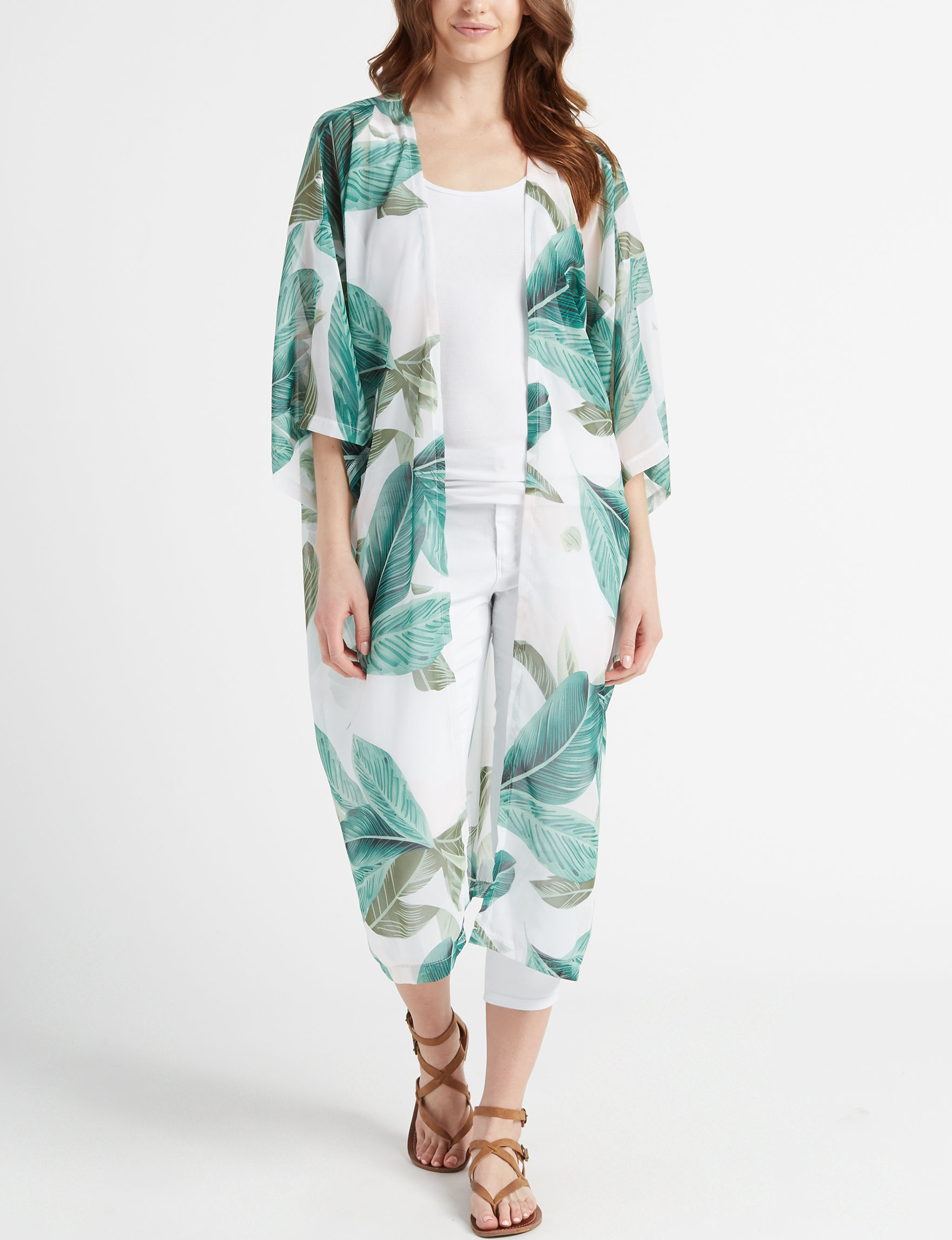 The Accessory Collective White / Green Kimonos & Toppers
