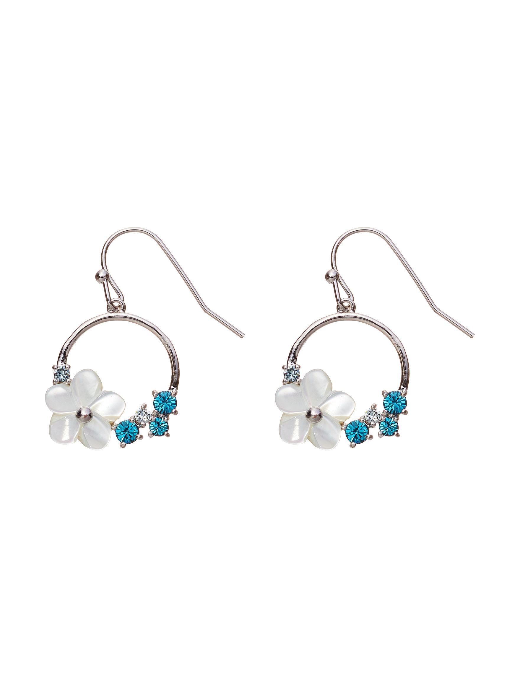 Sunstone Silver / Blue Drops Earrings Fine Jewelry