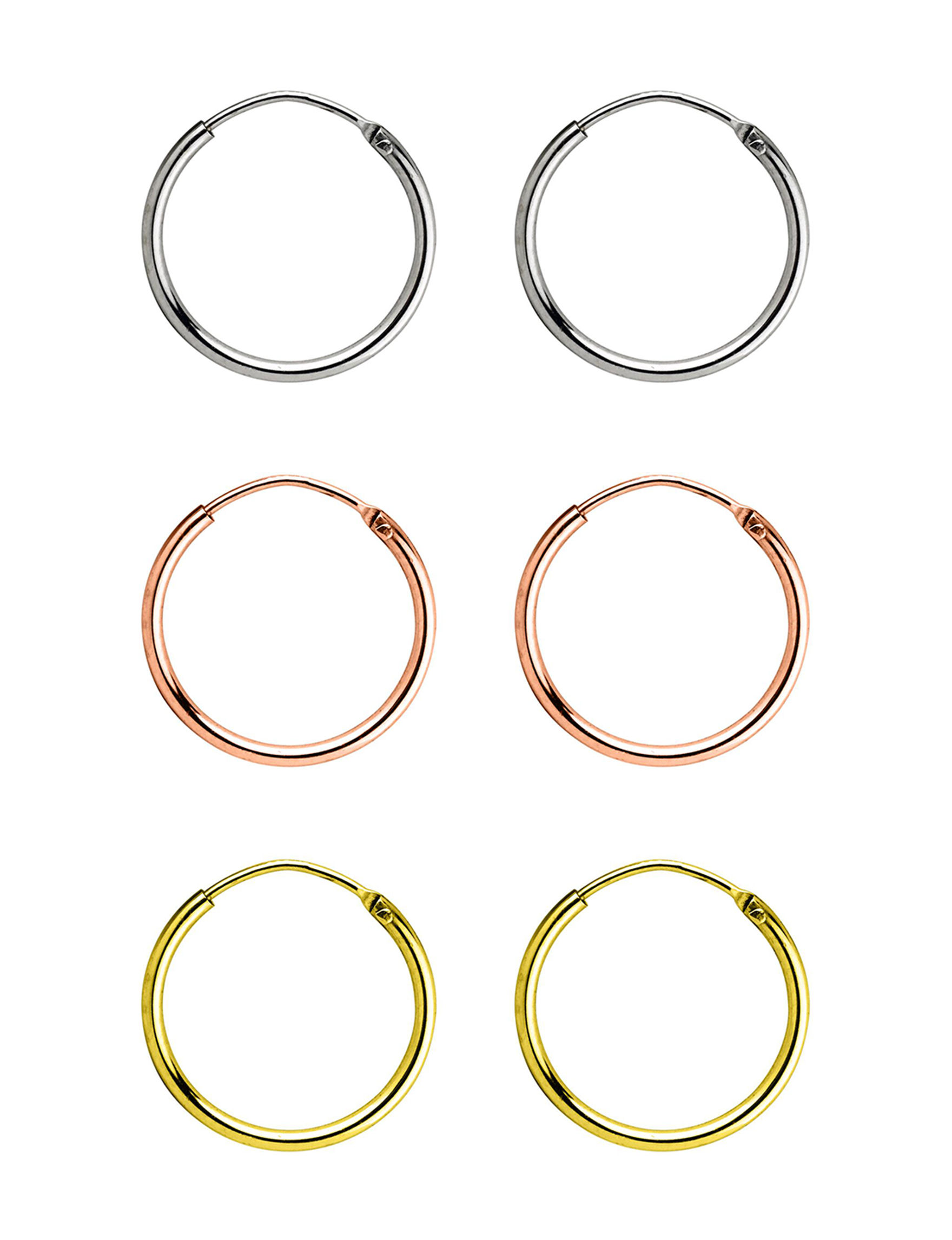 Sunstone Tri Tone Hoops Earrings Fine Jewelry