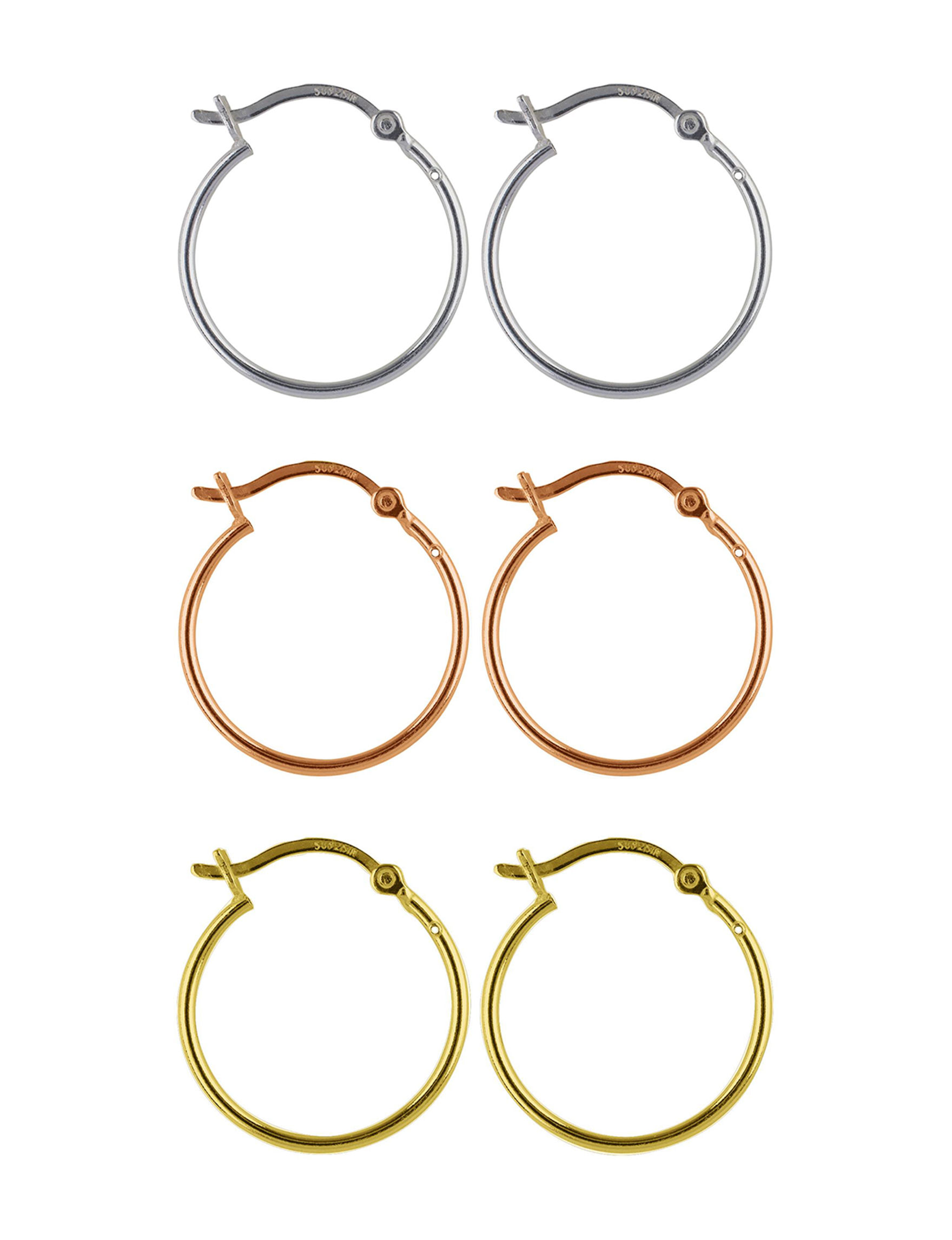 Sunstone Tri Tone Hoops Earrings Fine Jewelry