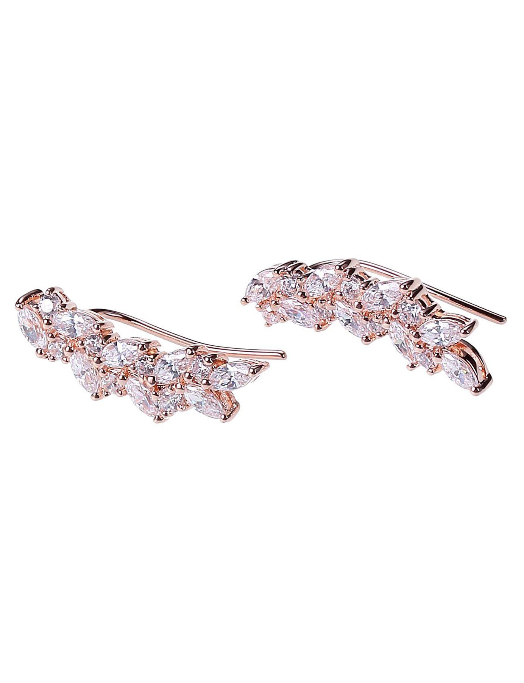 PAJ INC. Rose Gold / Crystal Earrings Fine Jewelry