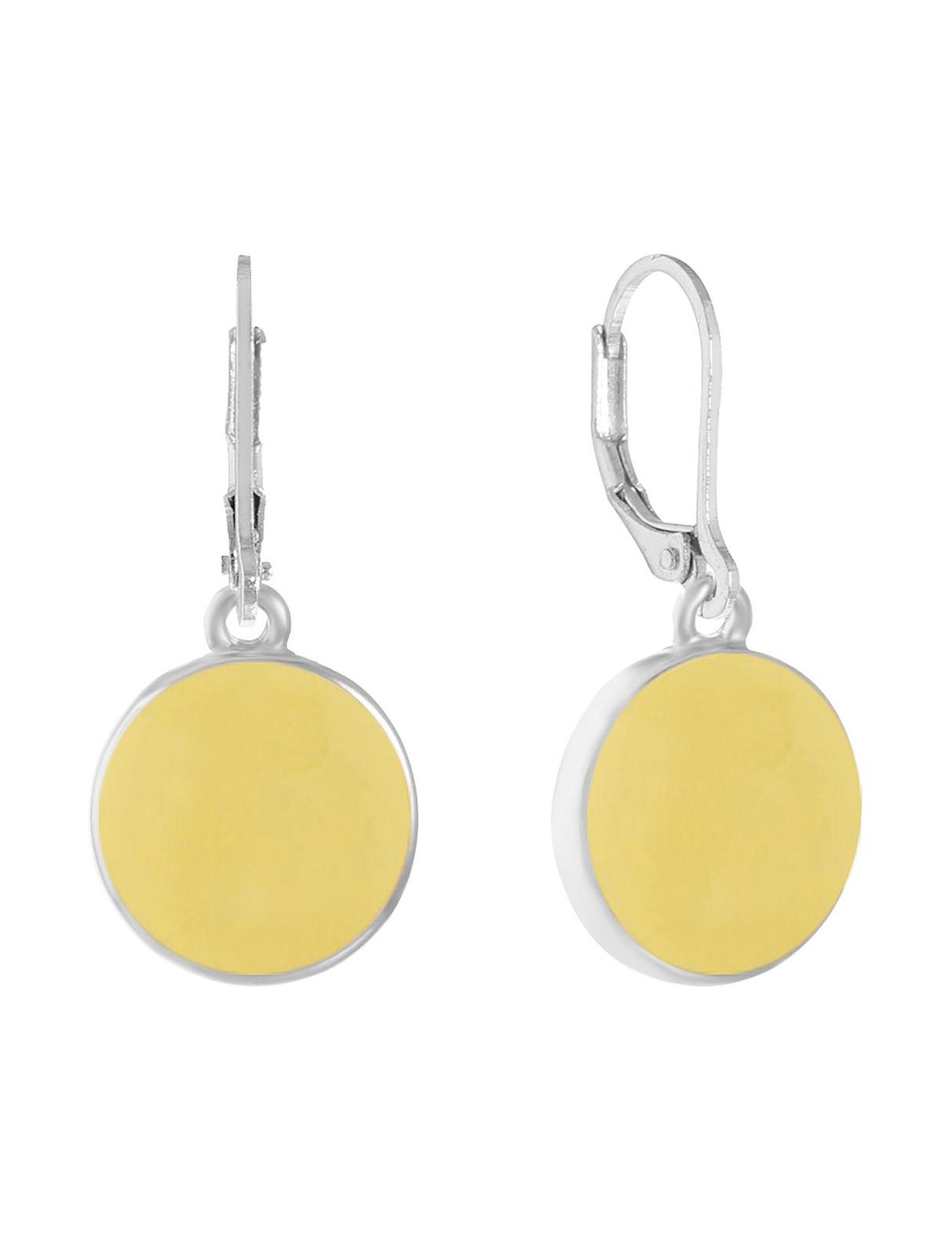 Gloria Vanderbilt Yellow / Silver Drops Earrings Fashion Jewelry