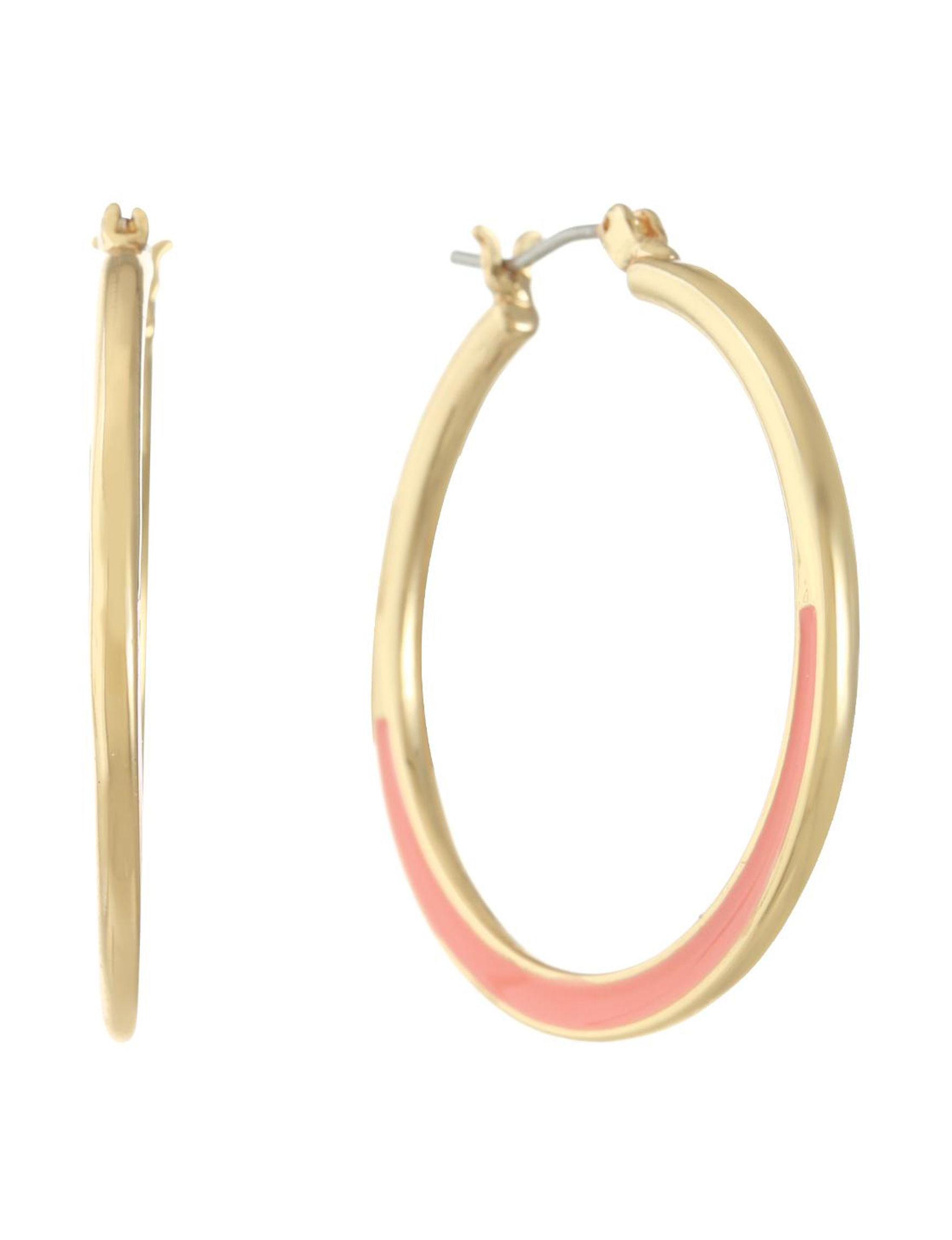 Gloria Vanderbilt Coral / Gold Hoops Earrings Fashion Jewelry