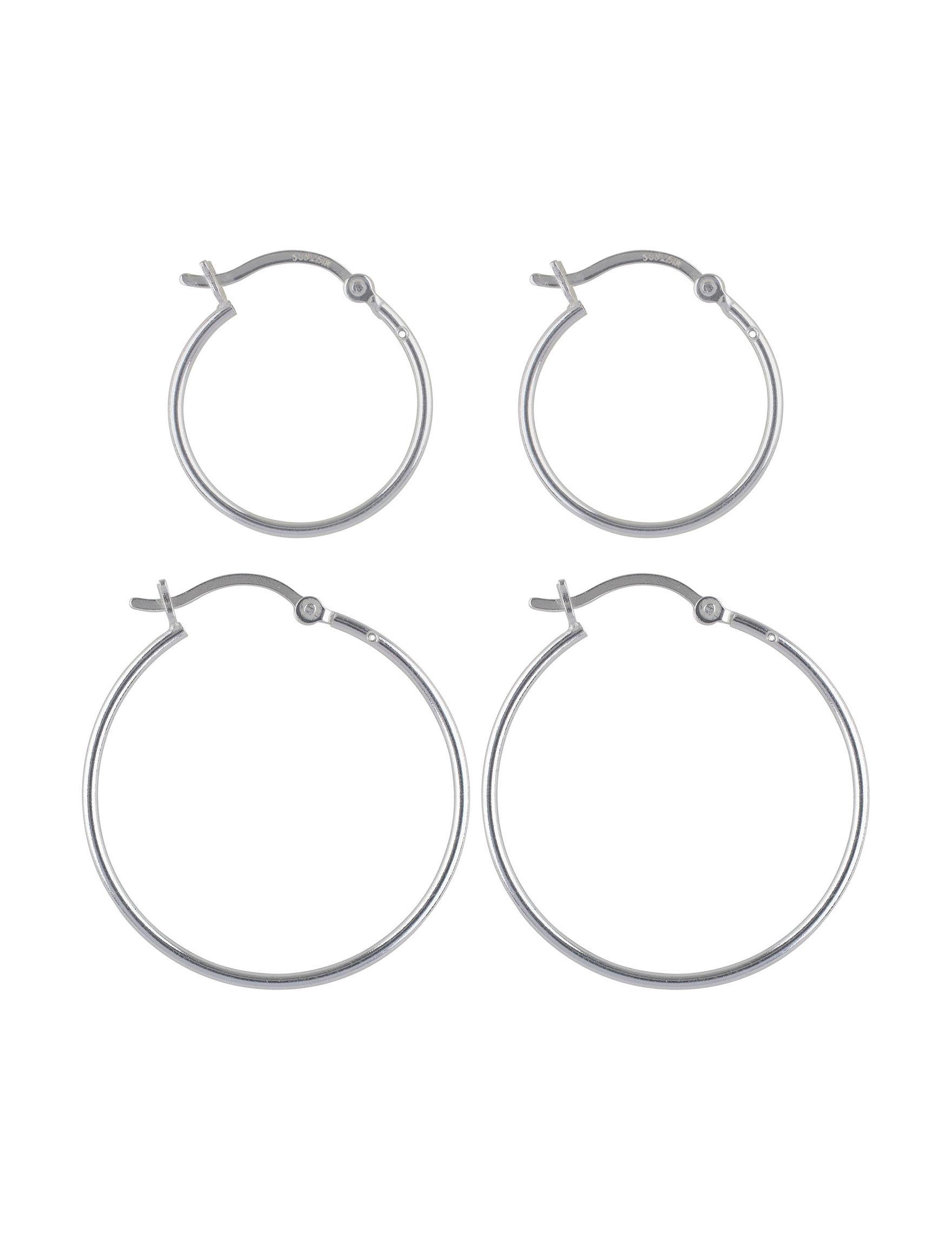 Sunstone Sterling Silver Hoops Earrings Fine Jewelry