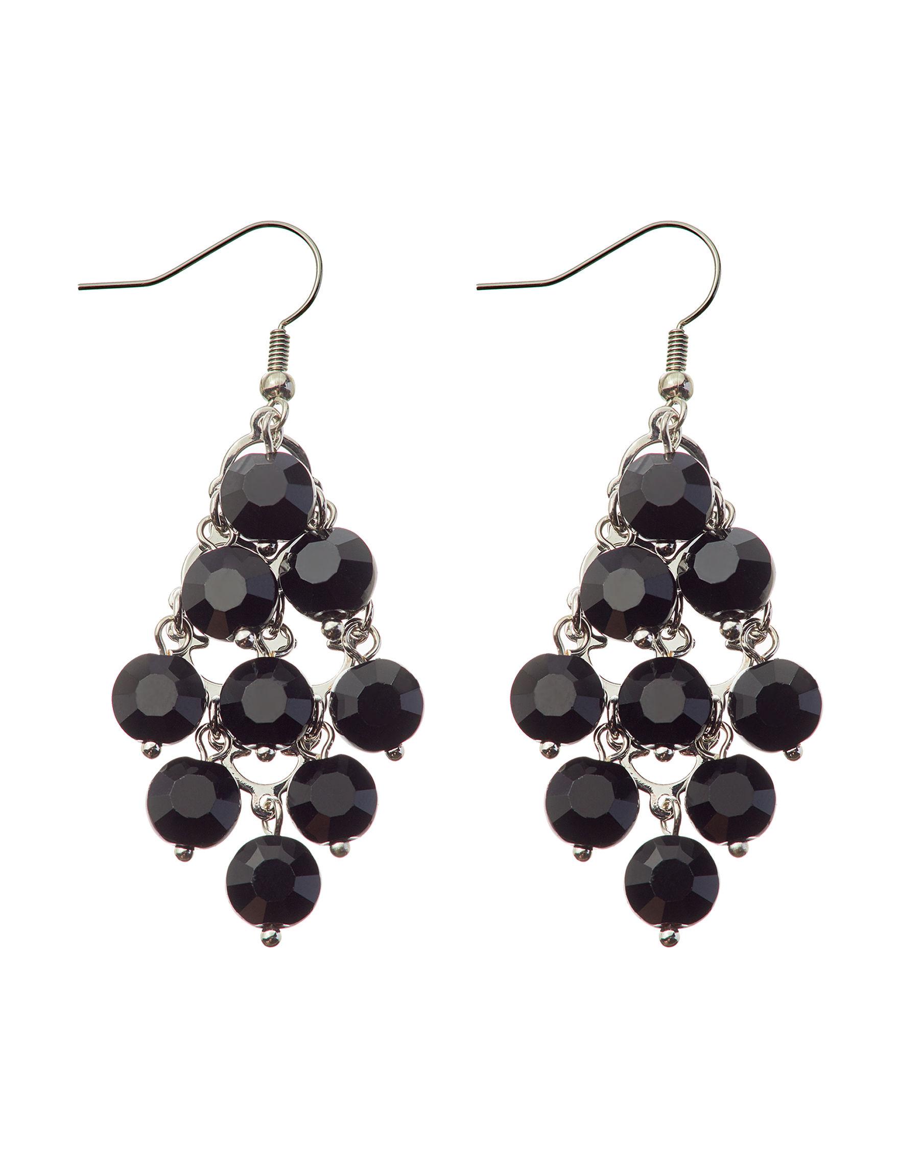 Hannah Black / Silver Drops Earrings Fashion Jewelry