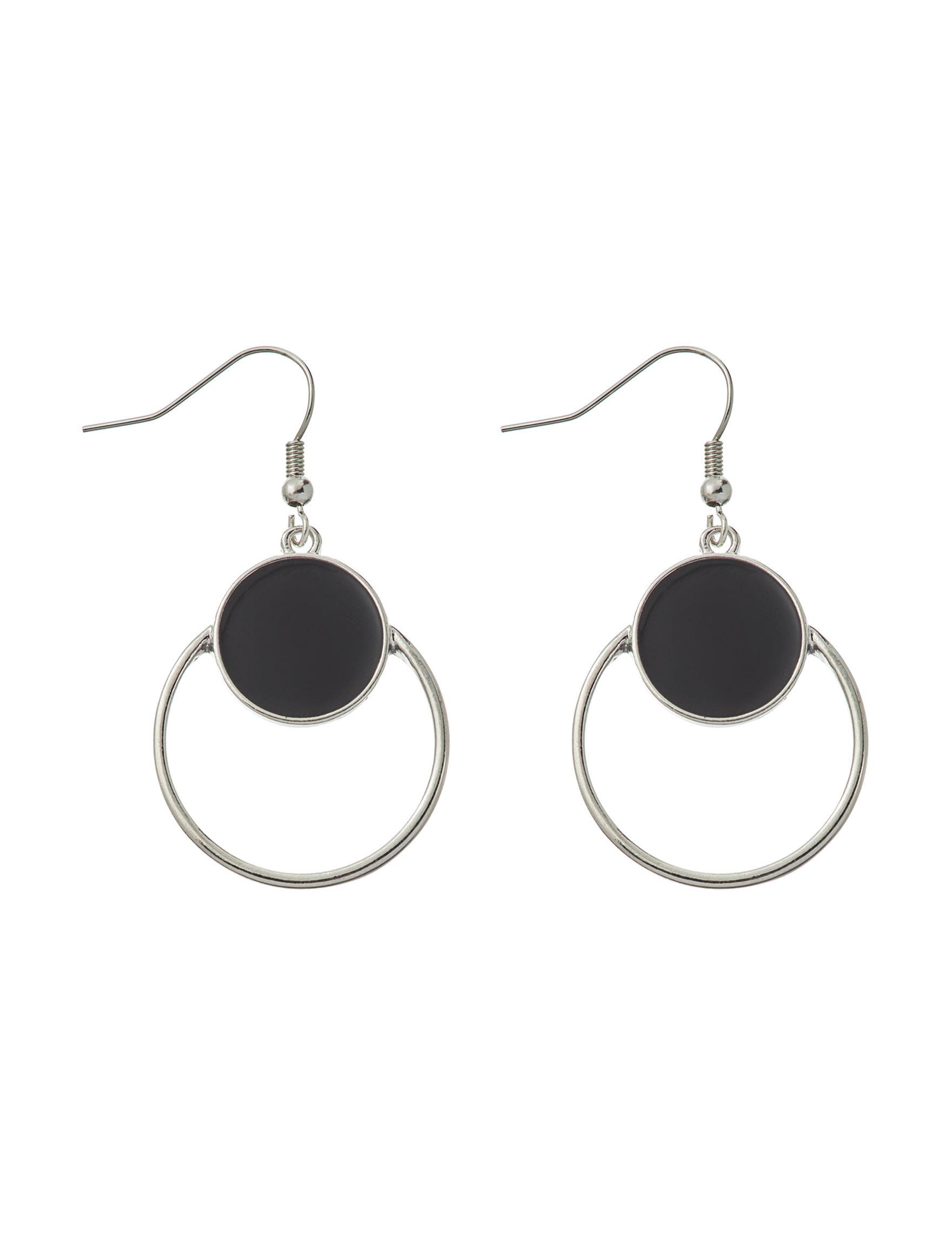 Hannah Silver / Black Drops Earrings Fashion Jewelry