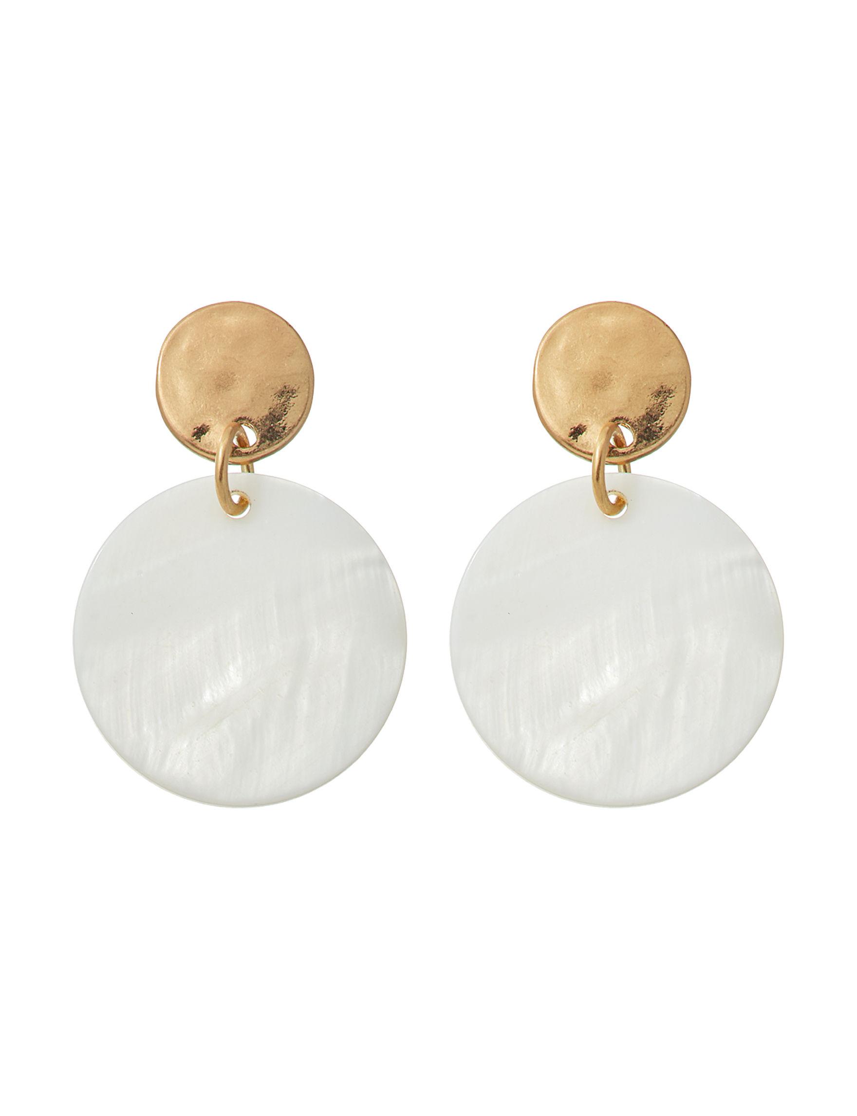 Hannah Gold / White Drops Earrings Fashion Jewelry