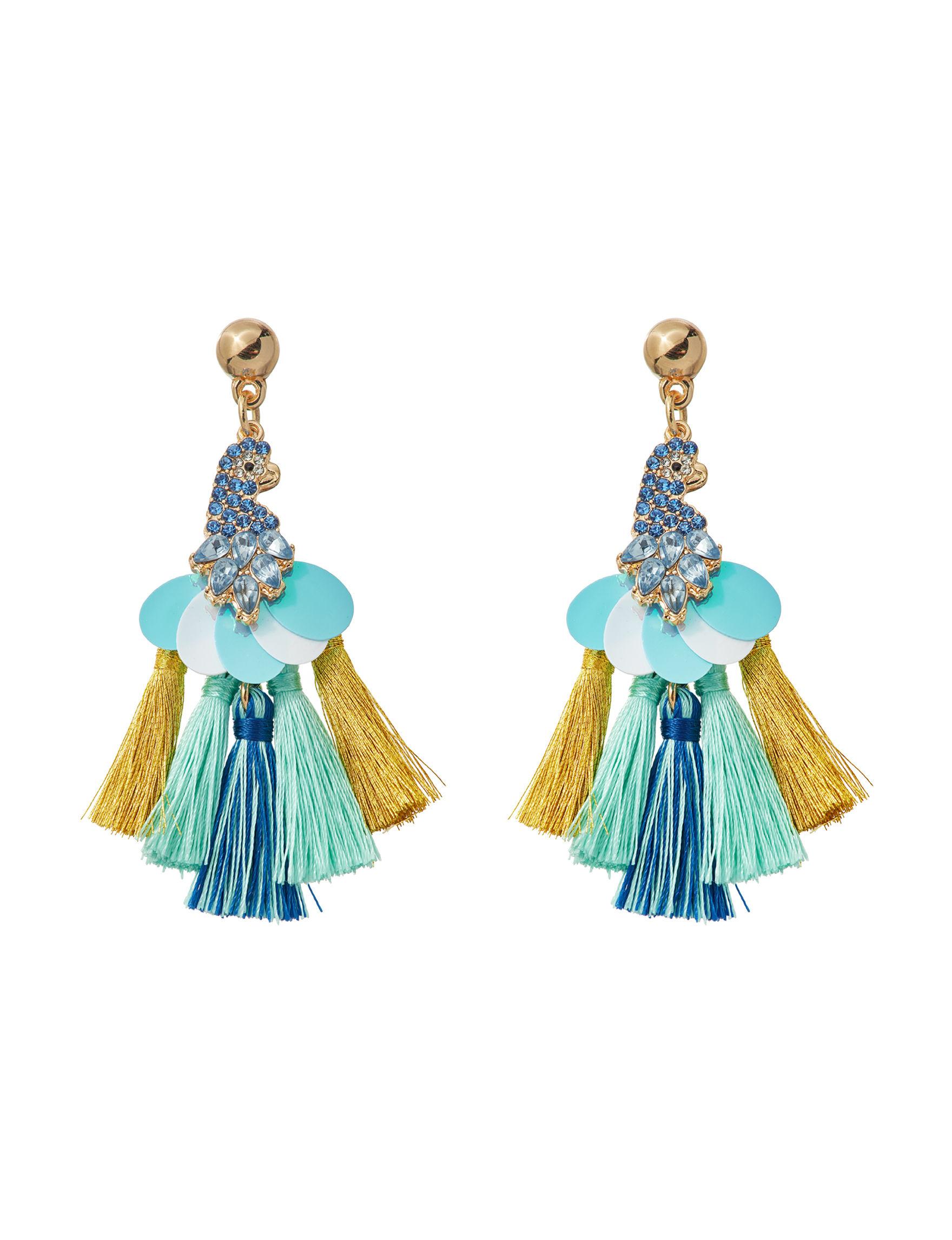 Hannah Blue / Gold Drops Earrings Fashion Jewelry