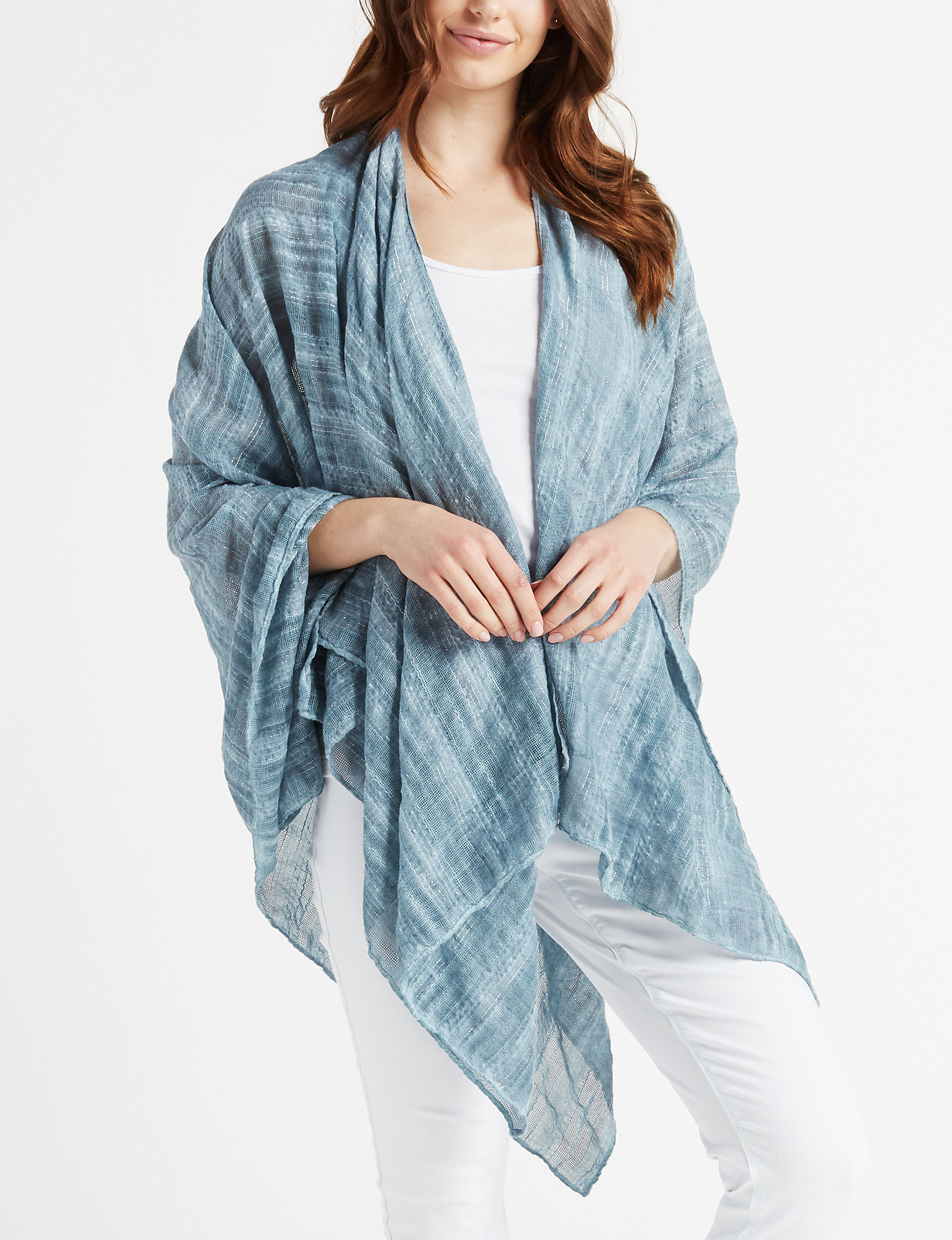 Lake Shore Drive Turquoise Scarves & Wraps Ruanas