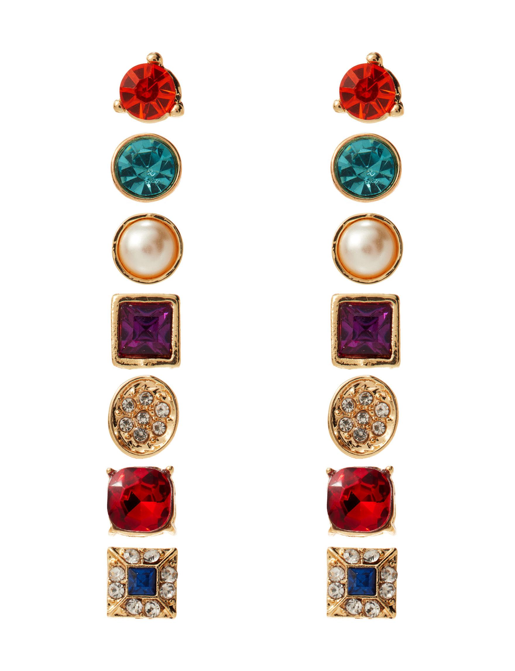 Hannah Gold / Multi Studs Earrings Fashion Jewelry