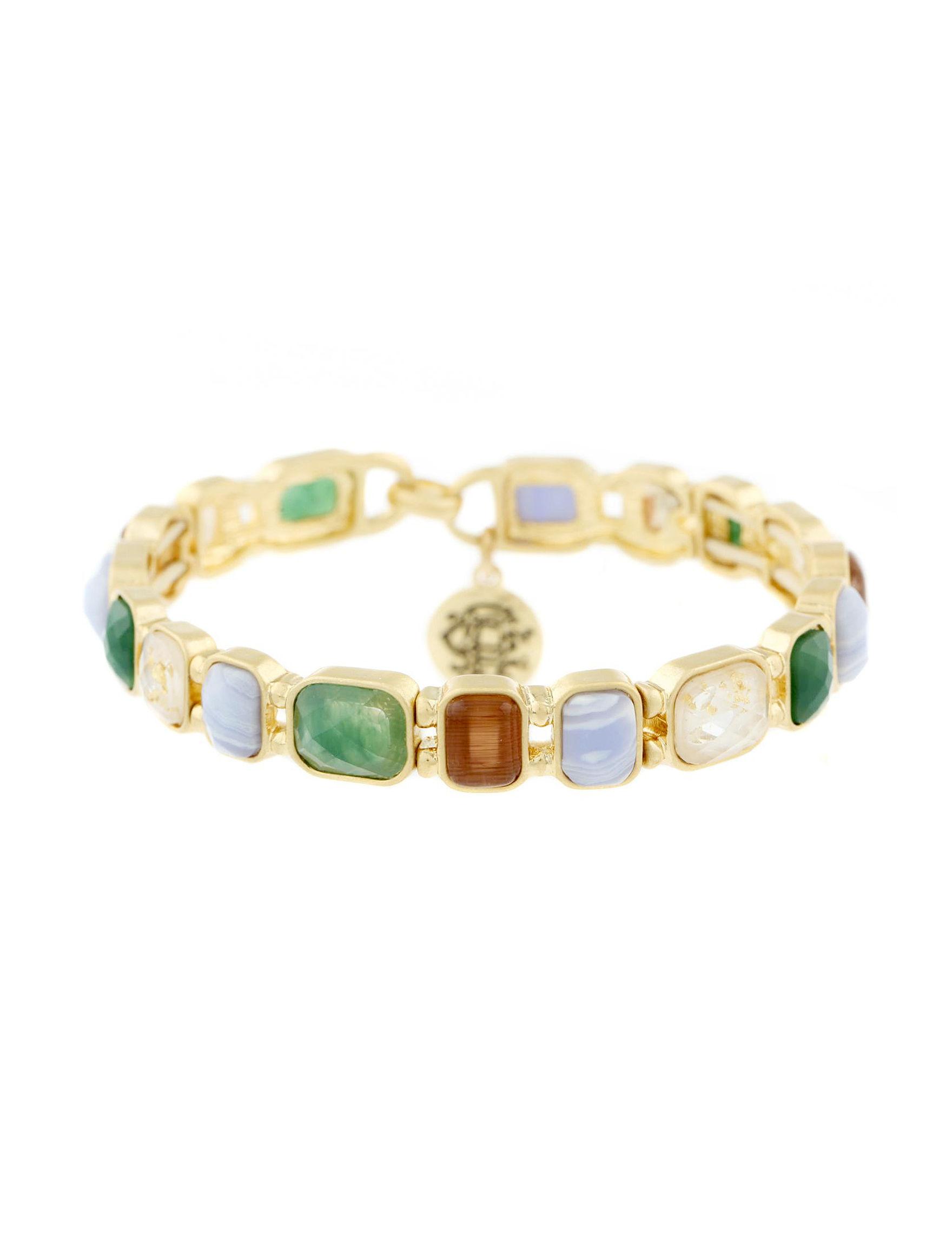 Chaps Gold / Multi Stone Bracelets Fashion Jewelry